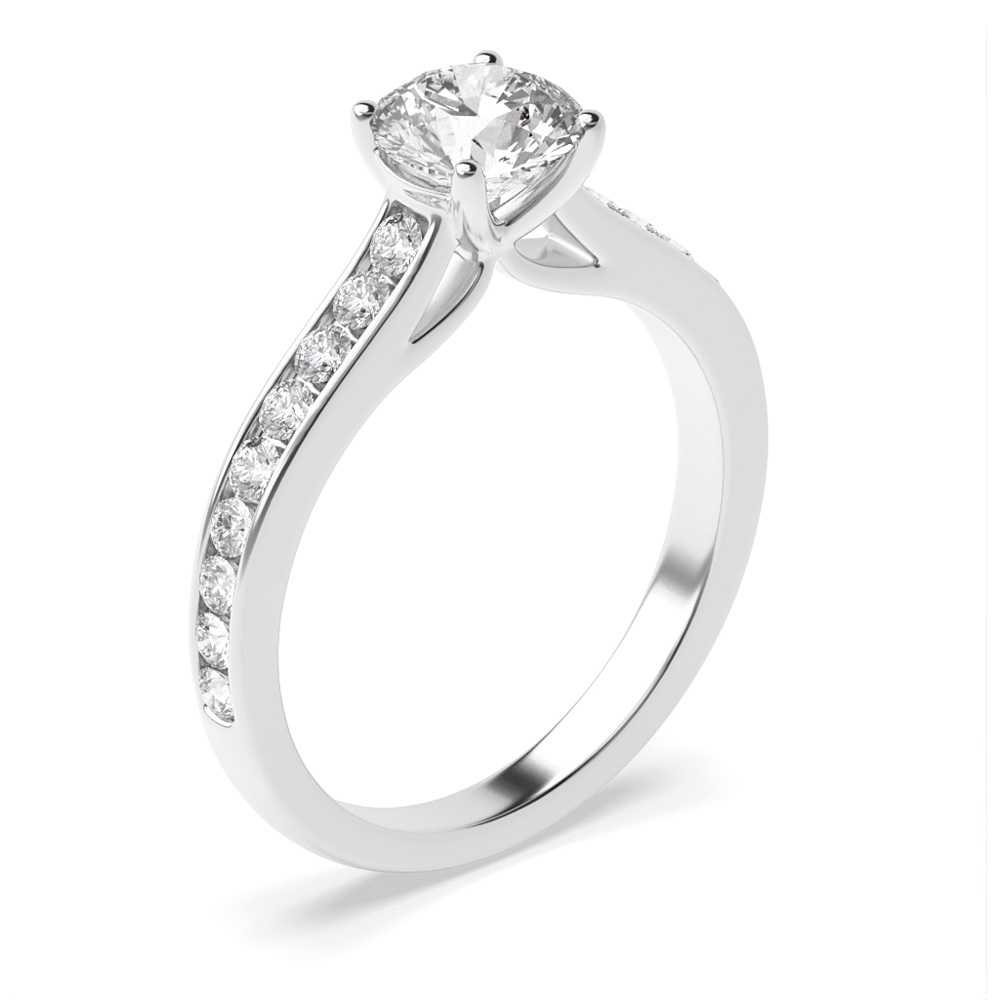Side Stone On Shoulder Set Accented Round Diamond Engagement Ring Gold