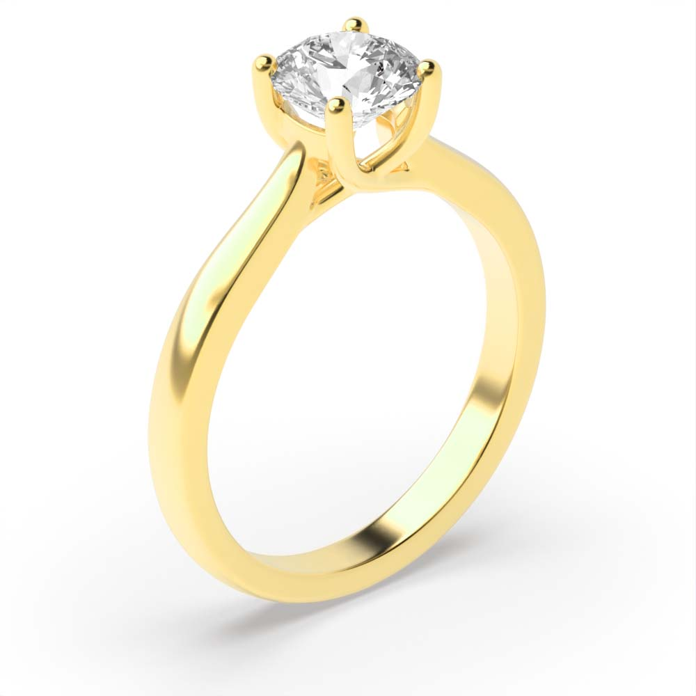 4 Claw Solitaire Diamond Engagement Ring Yellow / White Gold & Platinum