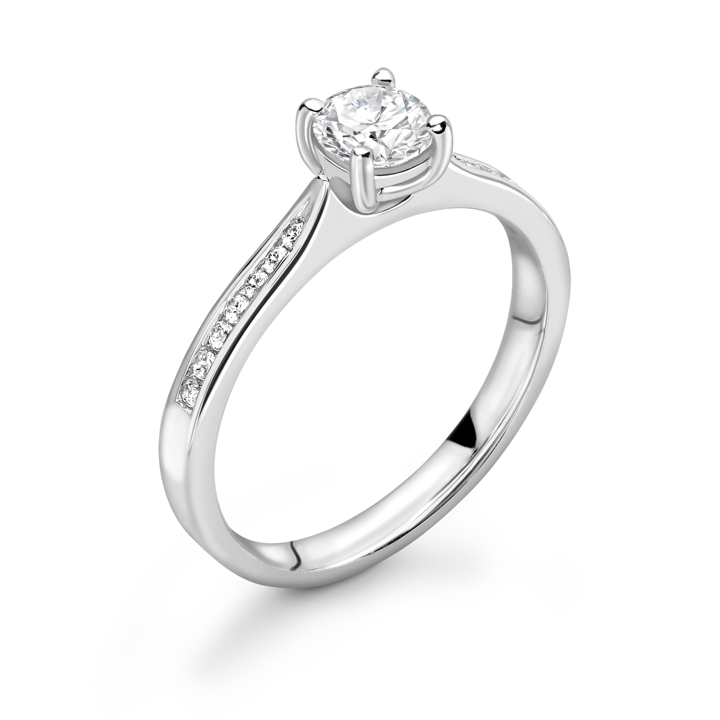 4 Claw Channel Setting Tapering Shoulder Engagement Ring