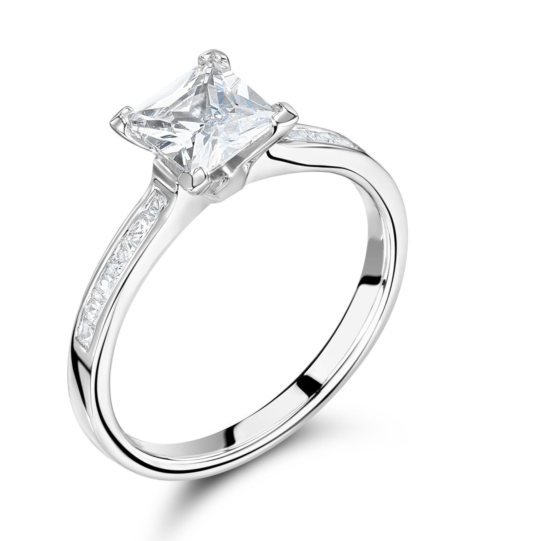Princess Cut Side Stone On Shoulder Set Diamond Engagement Ring In White Gold