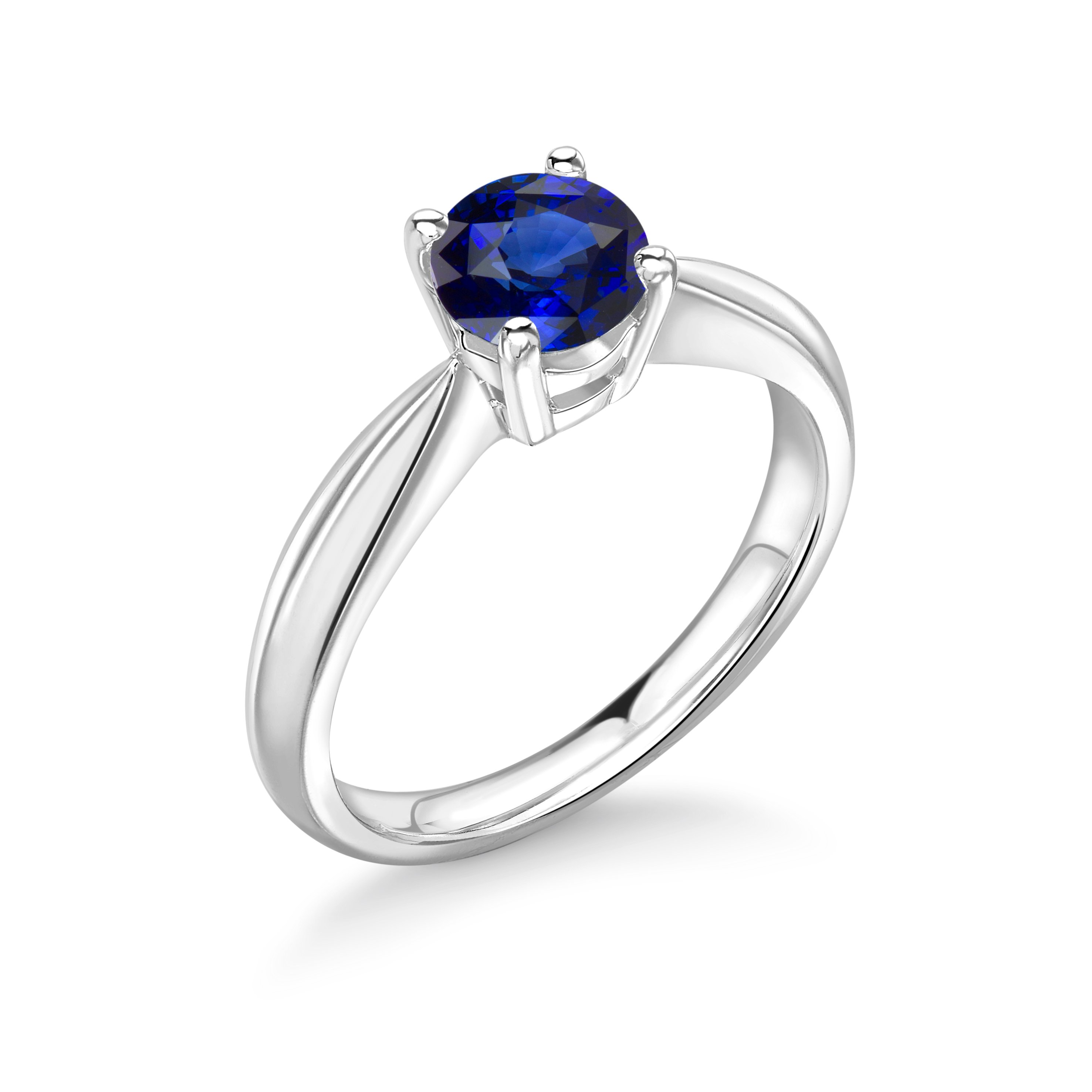 Elegant 4 Prong Set Round Solitaire Sapphire Engagement Rings UK
