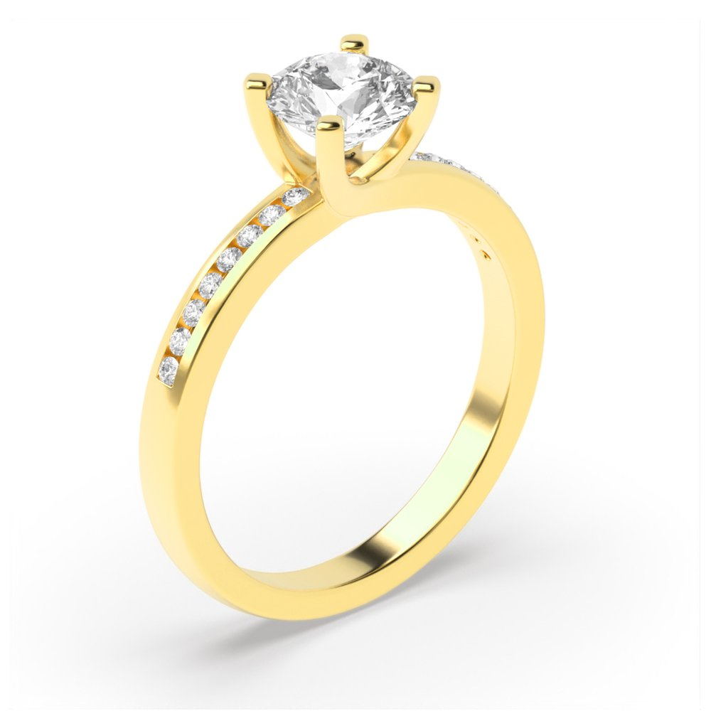 Side Stone On Shoulder Set Accented Diamond Engagement Ring Yellow / White Gold