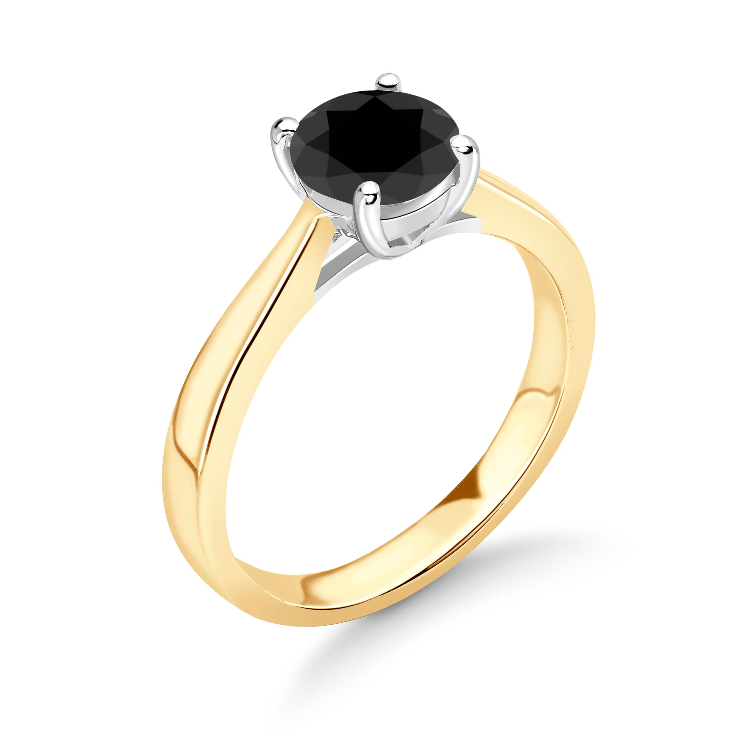 Black Diamond Ring UK With Brilliant Cut Round Shape Solitaire