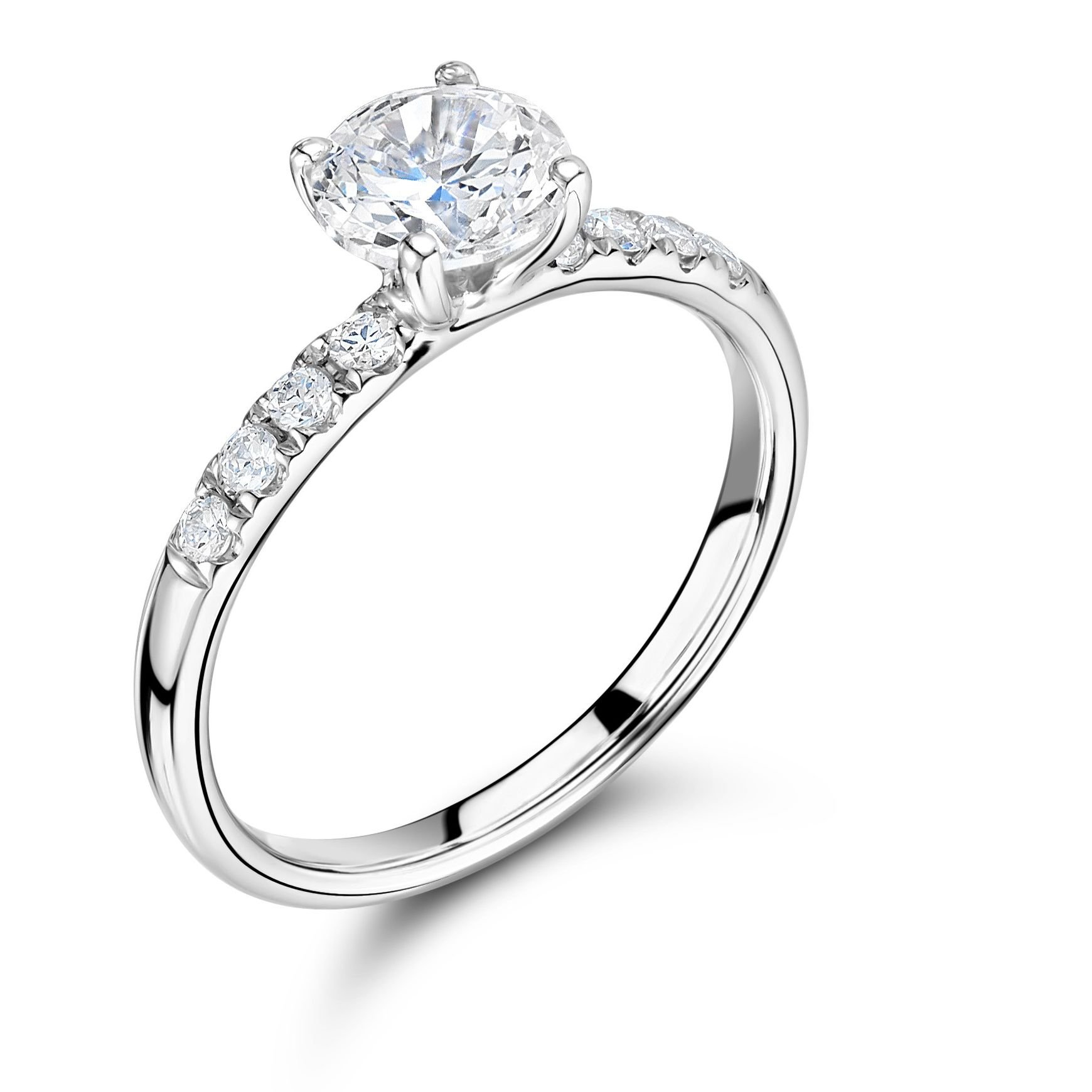 Side Stone On Shoulder Set Diamond Engagement Ring Platinum