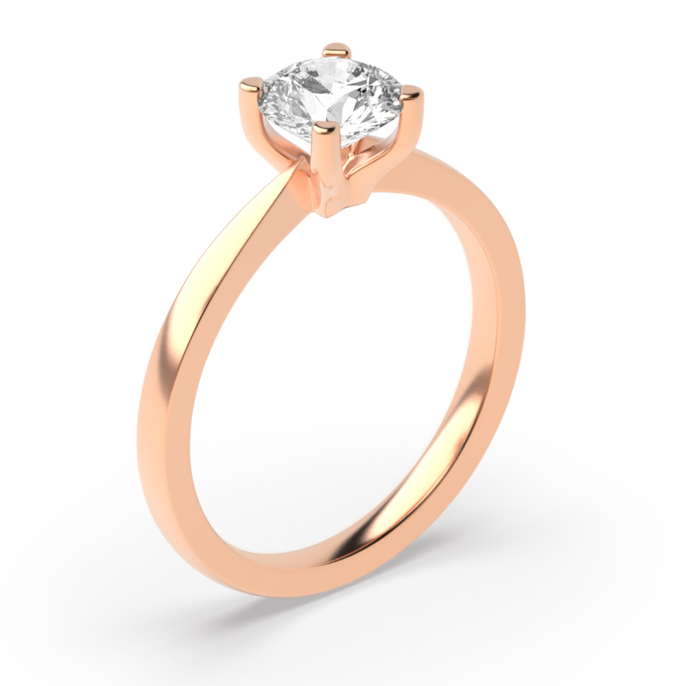 Simple Engagement Rings in Rose / White Gold & Platinum Solitaire Diamond Ring