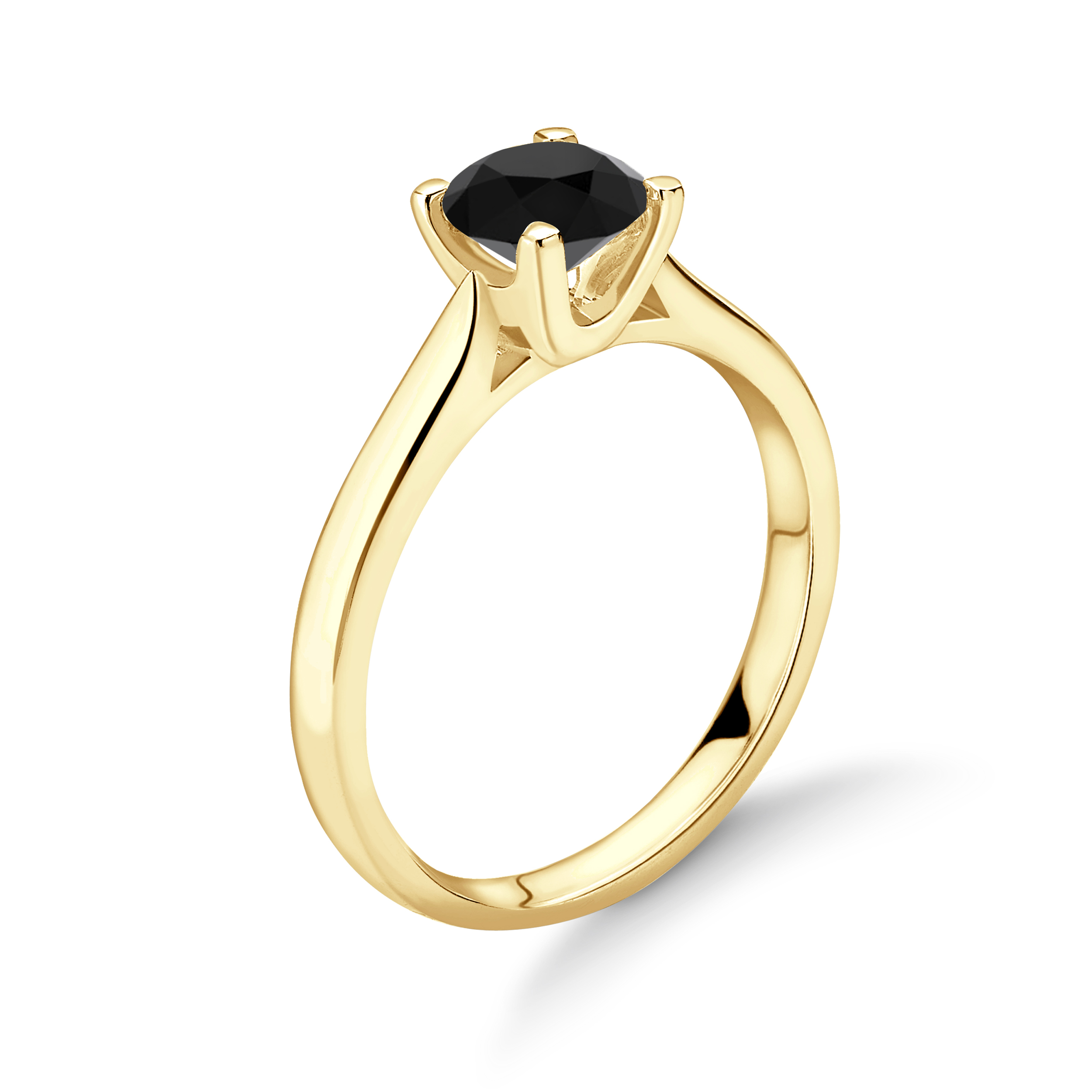 Simple Elegant Engagement Rings 4 Prong Solitaire Black Diamond Engagement Ring UK