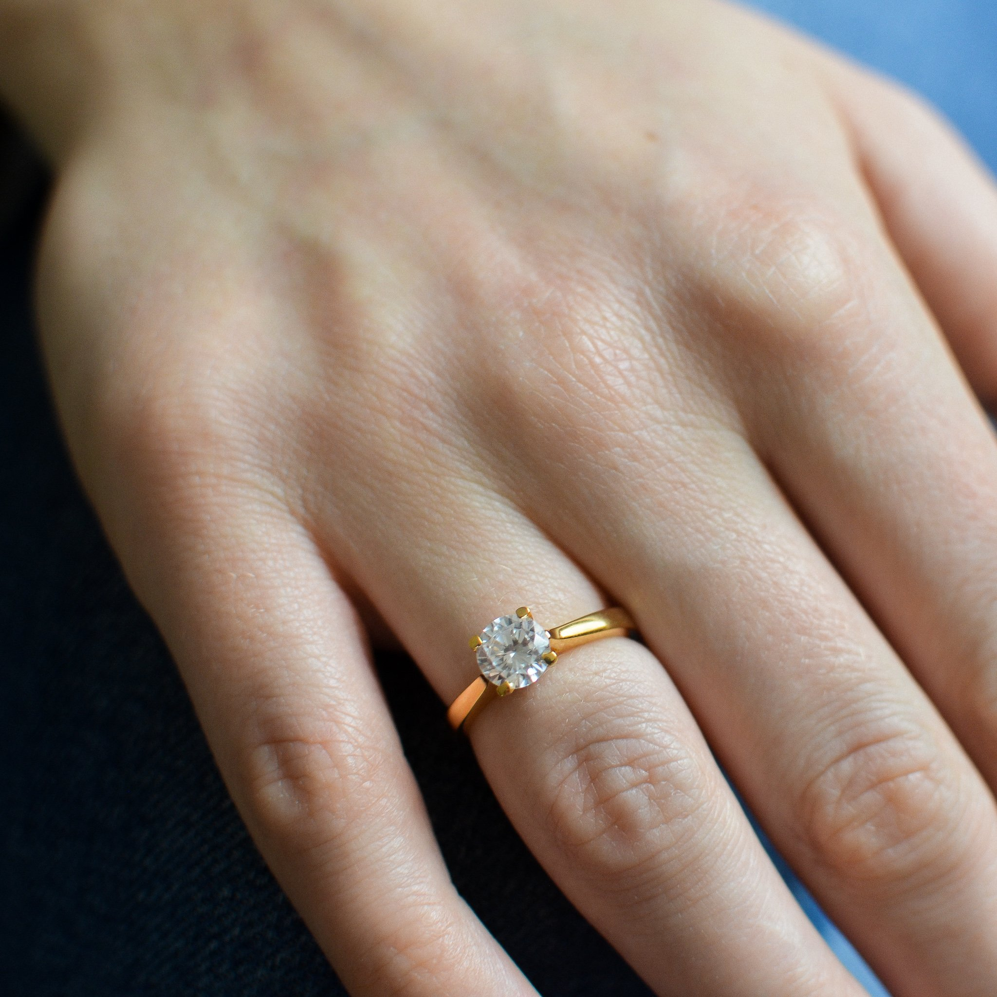 Simple Elegant Engagement Rings Solitaire Lab Grown Diamond Ring