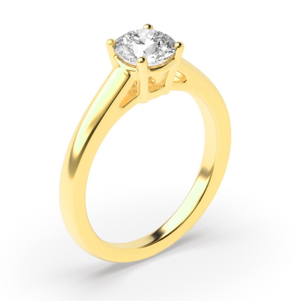 4 Prongs Diamond Solitaire Engagement Rings Yellow Gold / Platinum