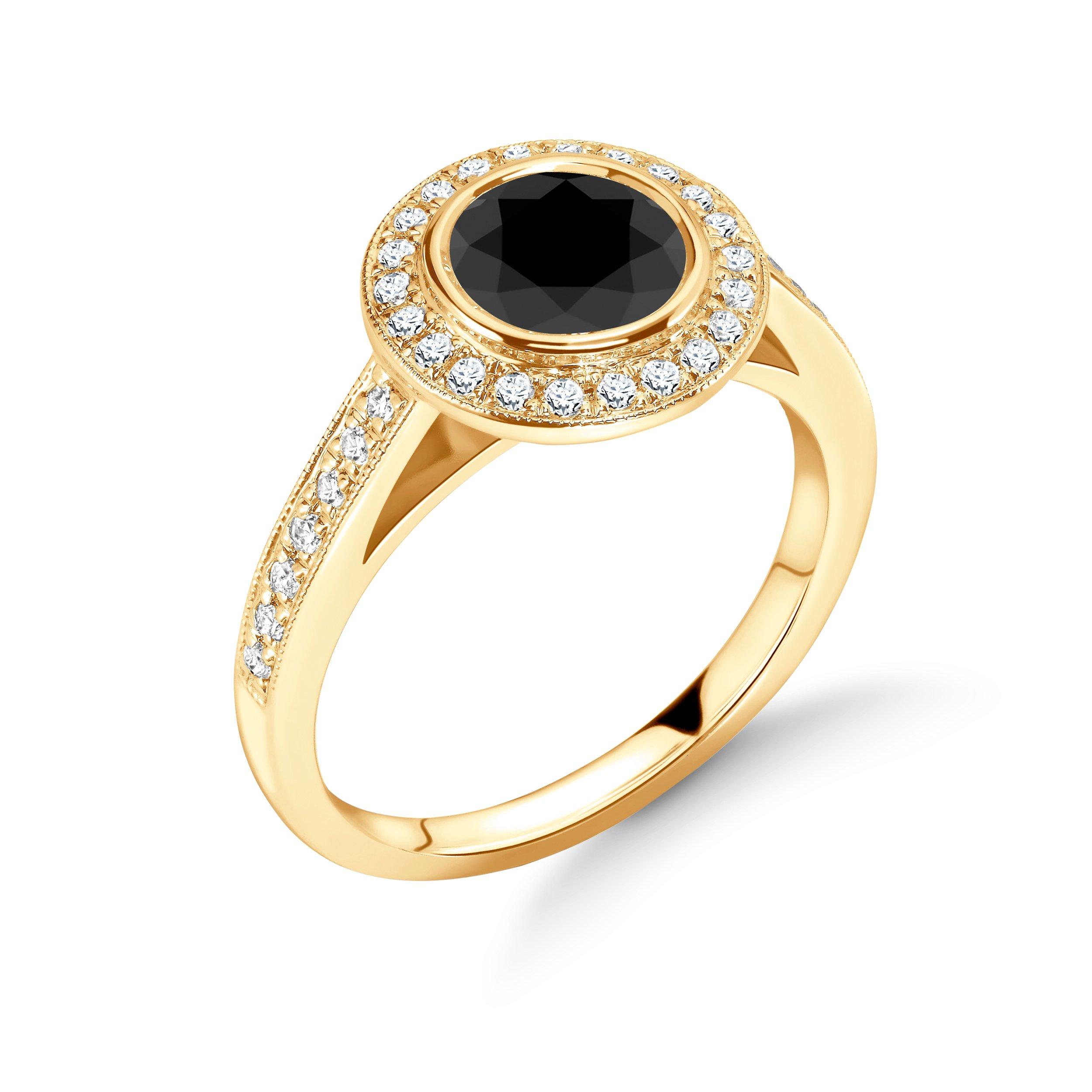 Classic Round Shape Miligrain edge Diamond Black Engagement Rings