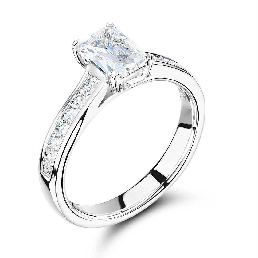 Radiant Cut Side Stone On Shoulder Set Diamond Engagement Ring