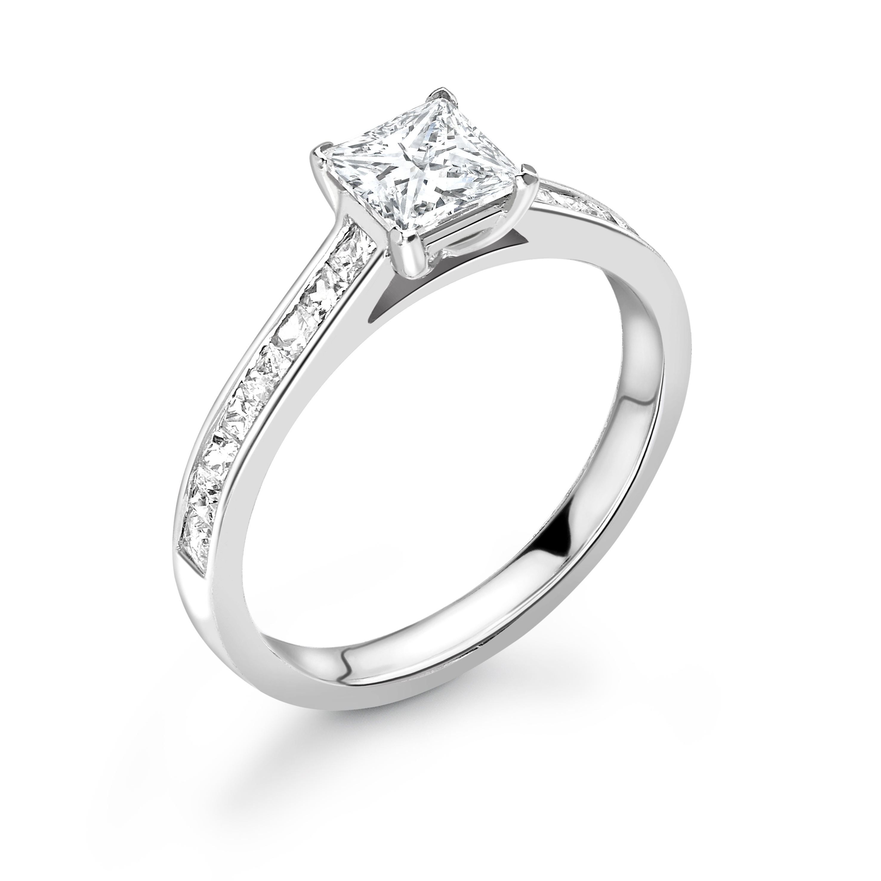 Princess Diamond Channel Set Diamond on Shoulder Engagement Ring