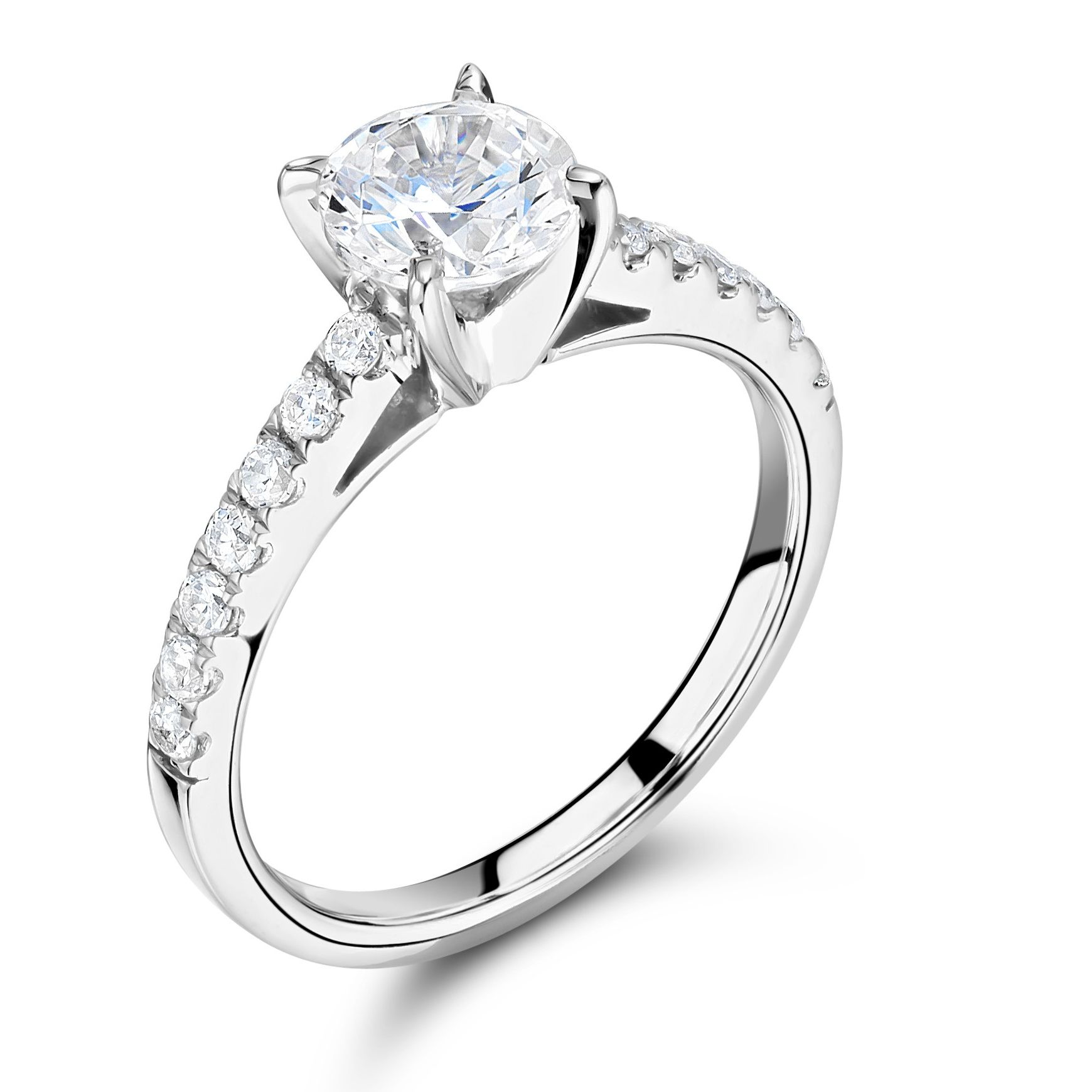 Side Stone Shoulder Set Diamond Engagement Ring White Gold / Platinum