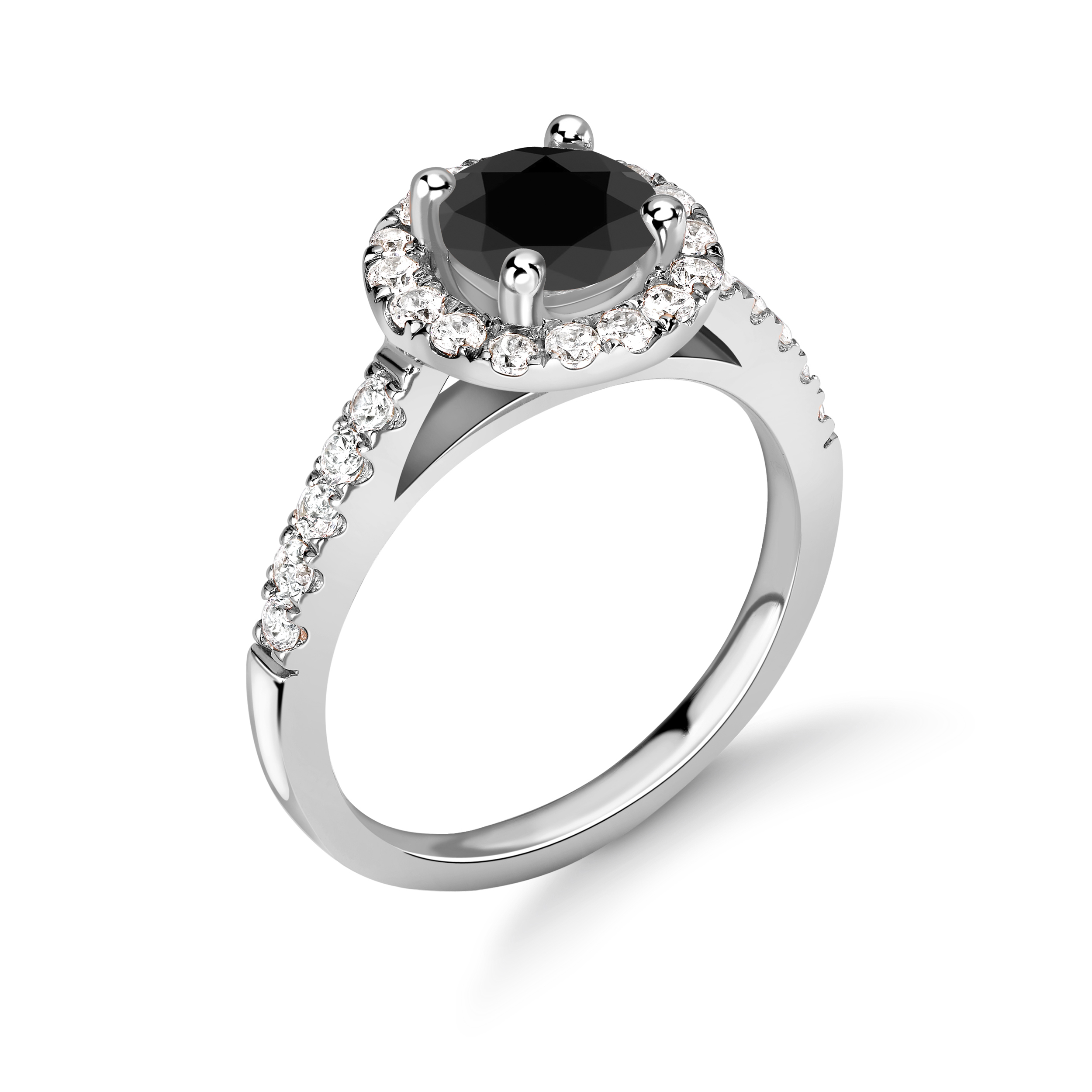 Round Shape Black Diamond Surrounded By White Diamond Engagement Rings