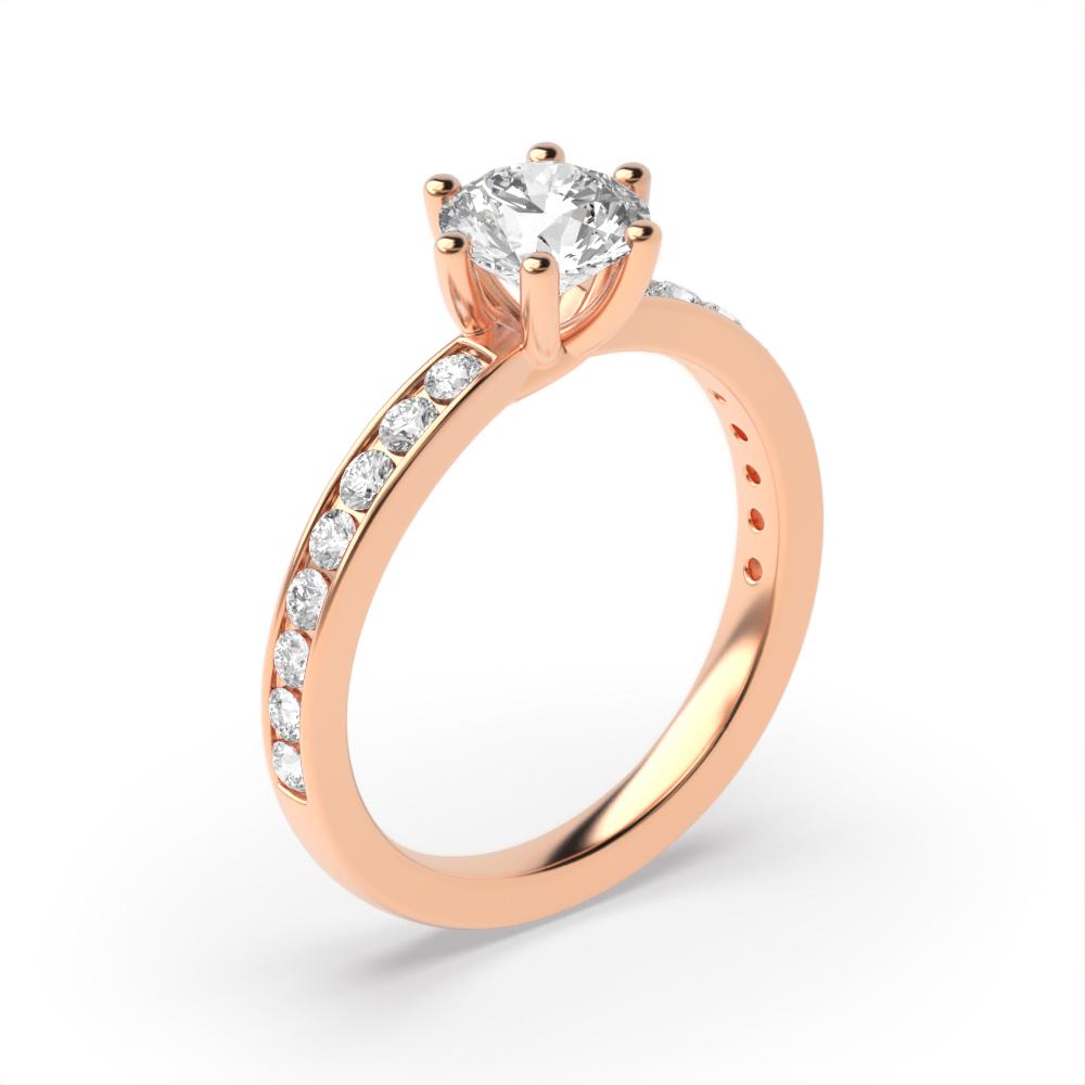 Side Stone On Shoulder Set Round Diamond Engagement Ring White Gold