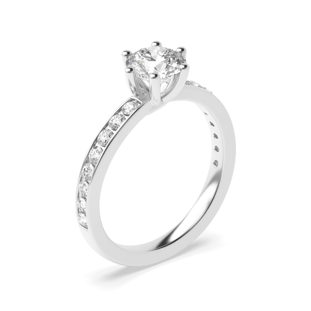 Side Stone On Shoulder Set Round Diamond Engagement Ring White Gold
