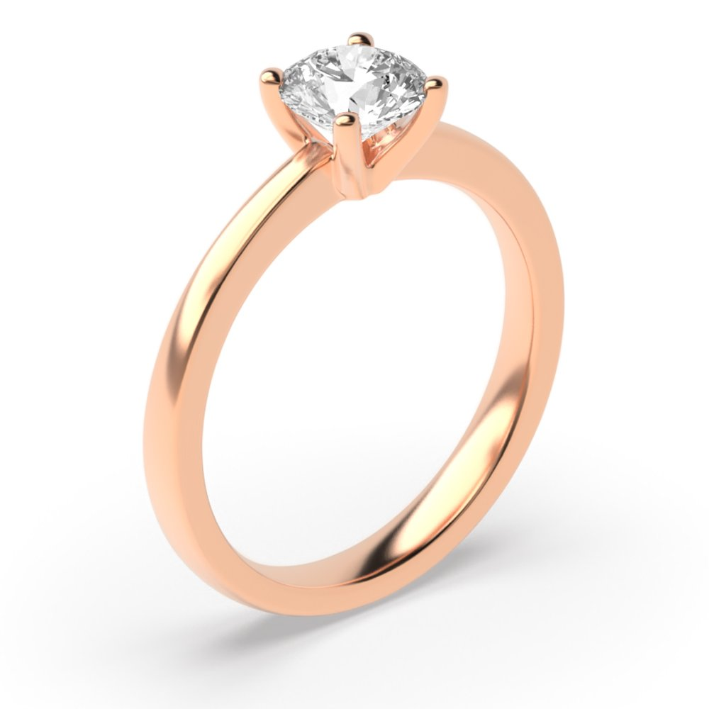 Round Brilliant Cut Diamond Solitaire Engagement Rings in White / Rose Gold