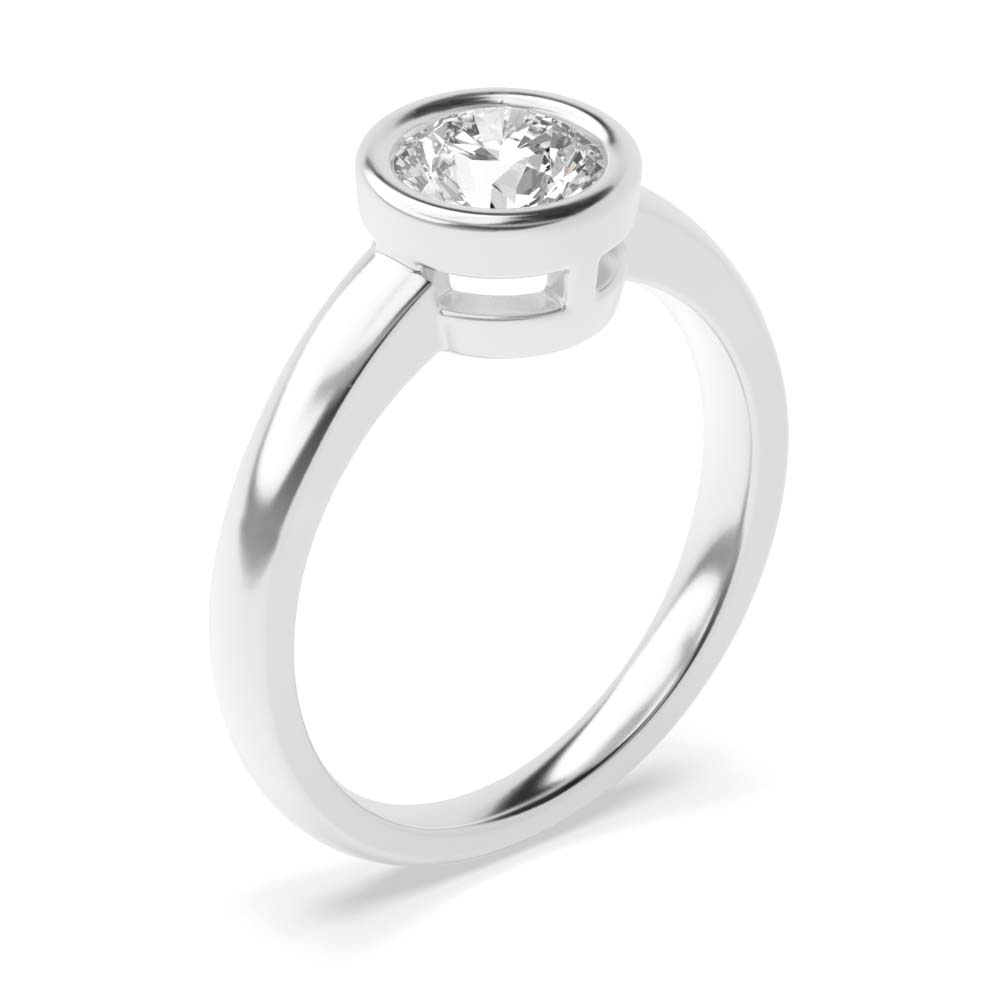 Bezel Set Diamond Engagement Ring UK In Platinum & White Gold for Women