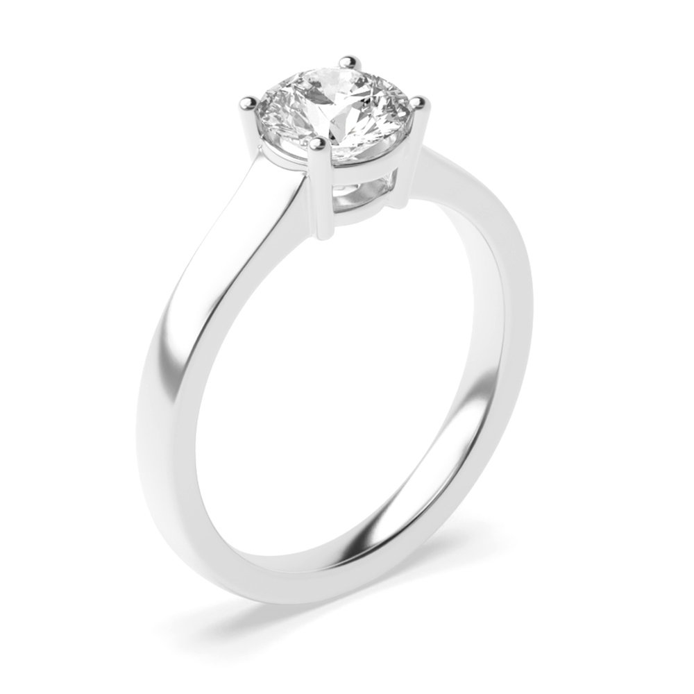 4 Prong Solitaire Engagement Rings UK White Gold
