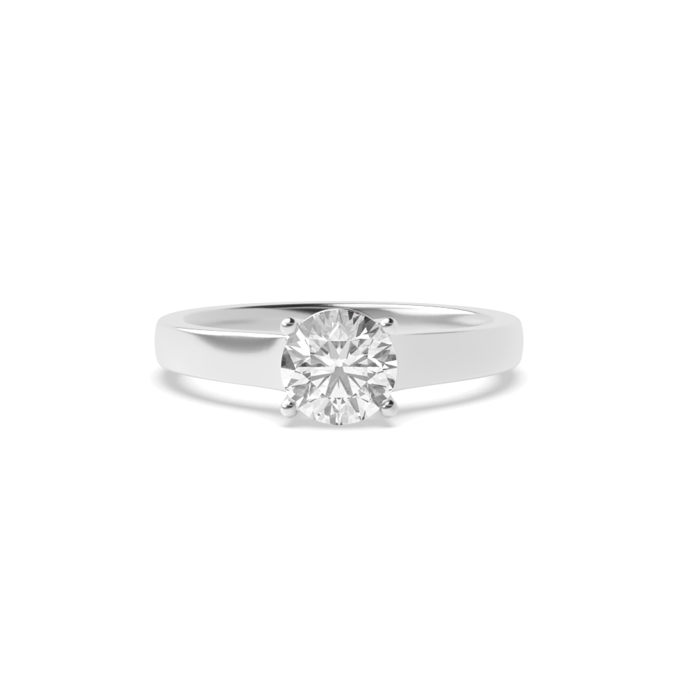 4 Prong Solitaire Engagement Rings UK White Gold / Platinum Rings for Women