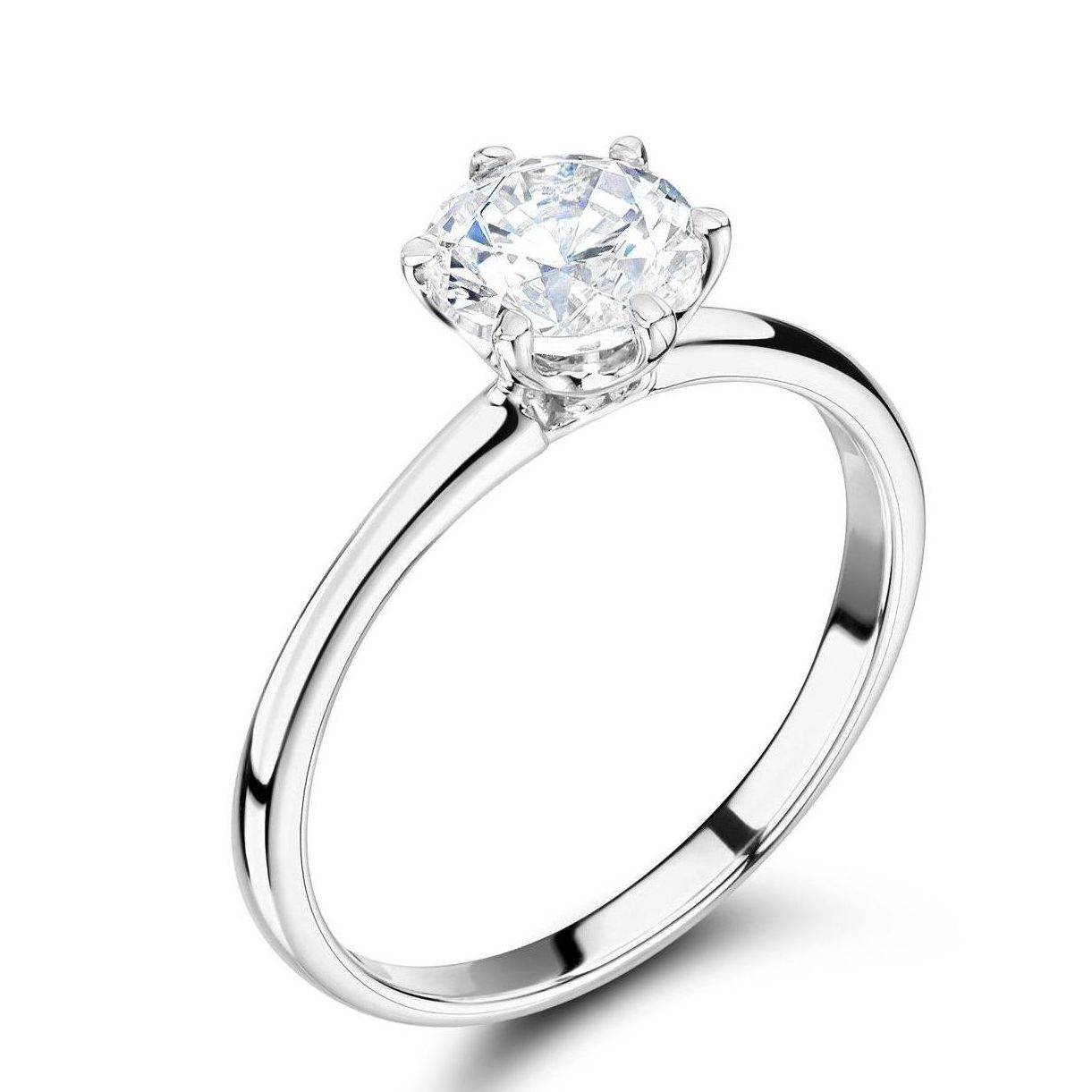 6 Claw Diamond Engagement Ring Round Brilliant Cut Solitaire Diamond