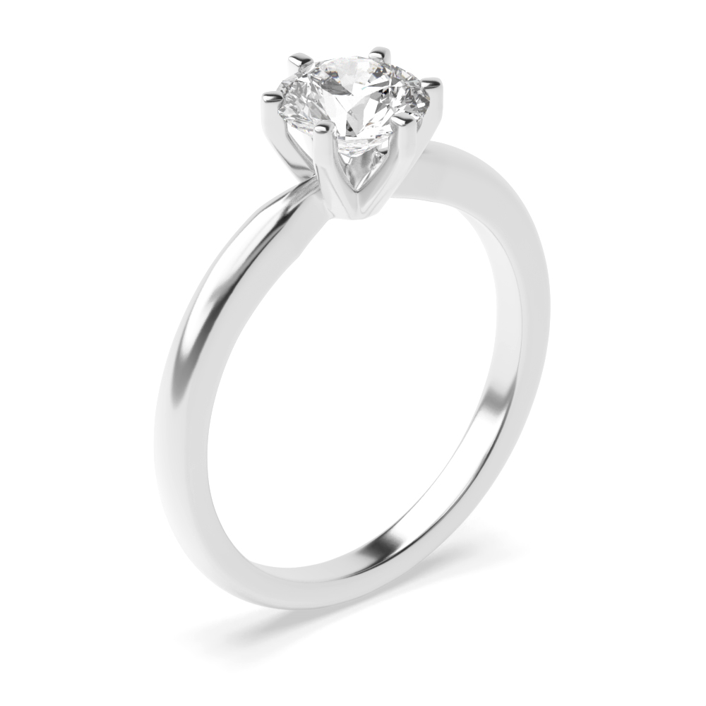 Classic Square 6 Claws Solitaire Moissanite Engagement Ring