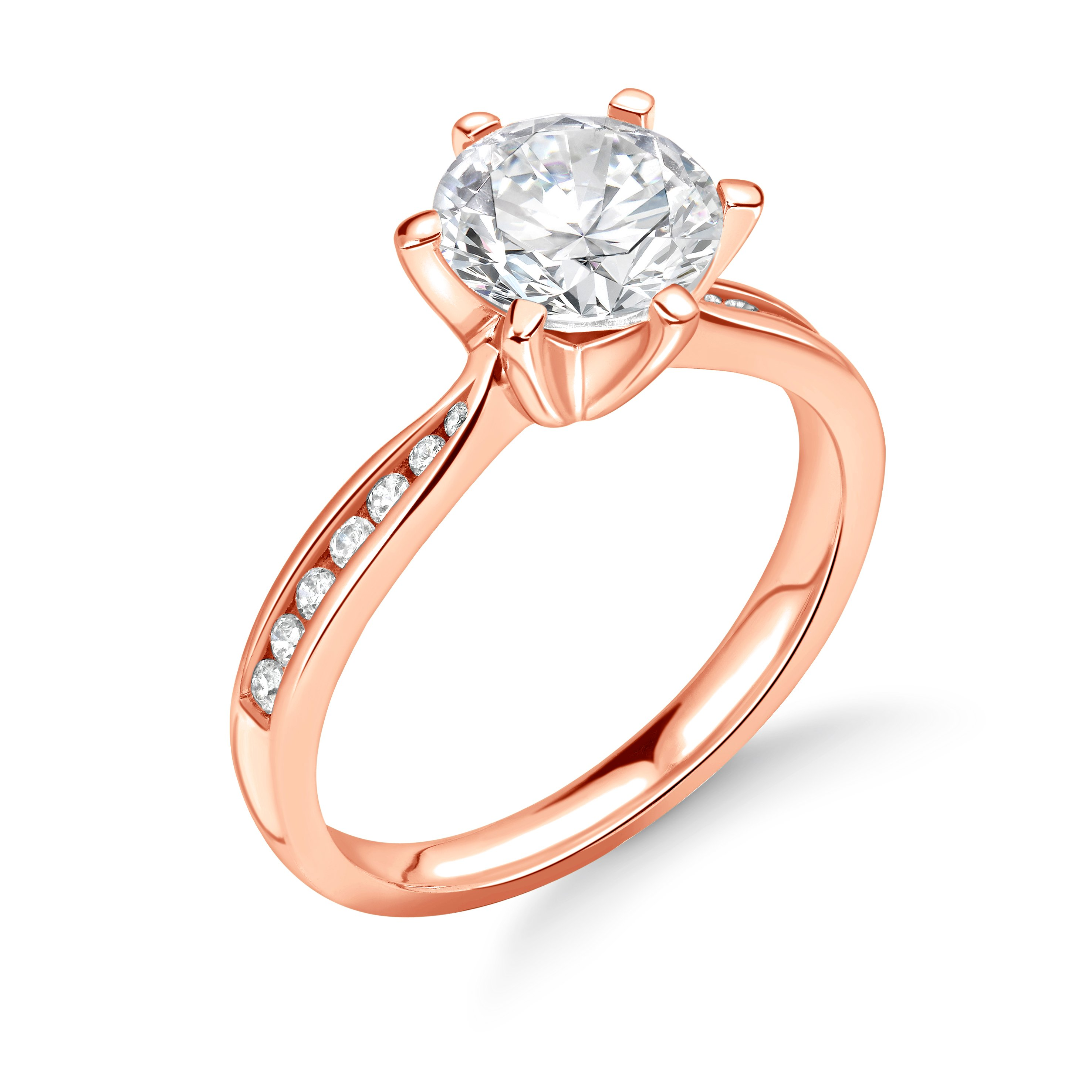 6 Claw Channel Setting Tapering Shoulder Engagement Ring