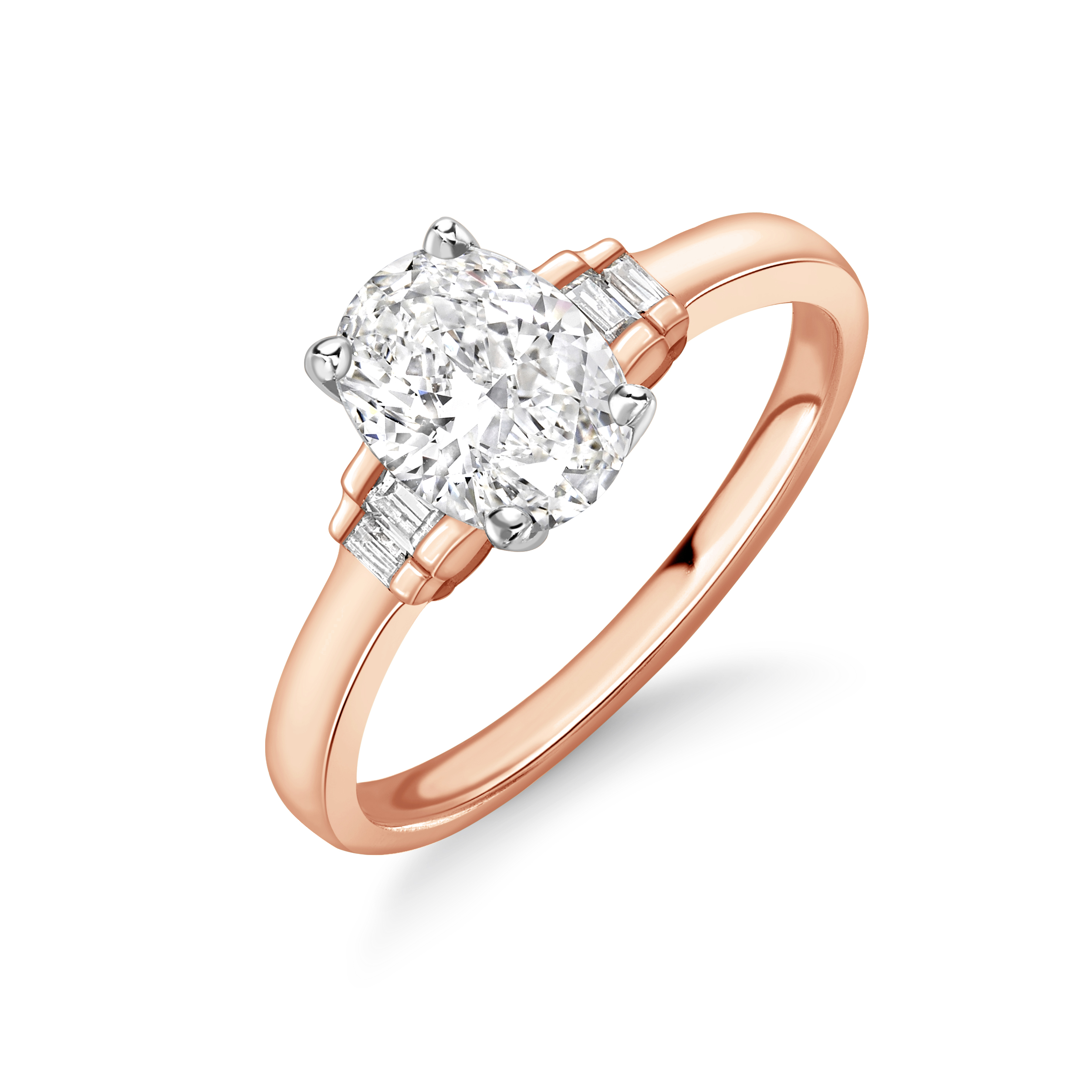Modern Style Oval and Baguette Diamond Engagement Ring