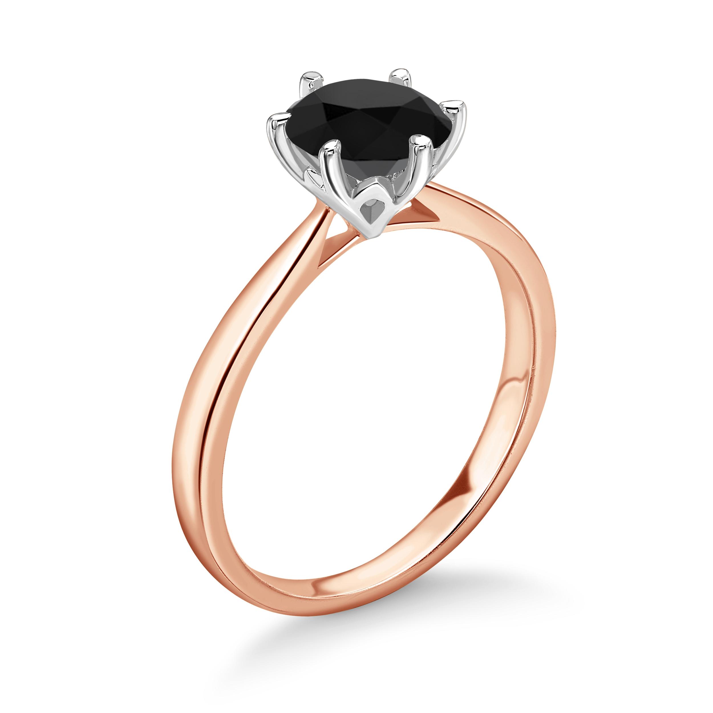 Round Shape White Black Diamond Ring