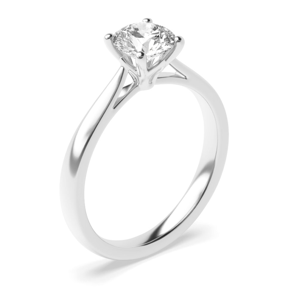 Split Shoulder Flower Petal Setting Style Solitaire Diamond Engagement Ring