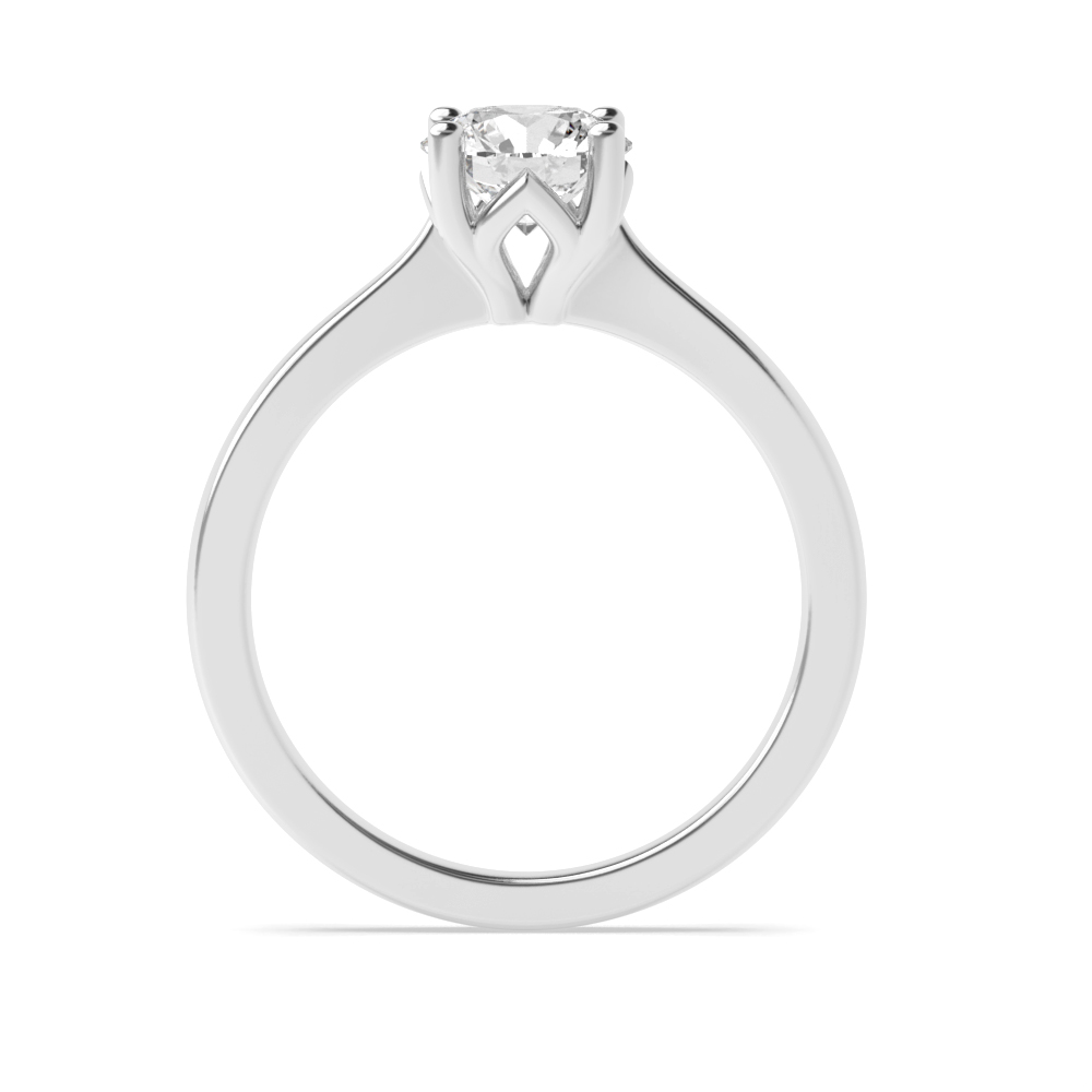 Solid Shoulder Flower Style Solitaire Moissanite Engagement Ring