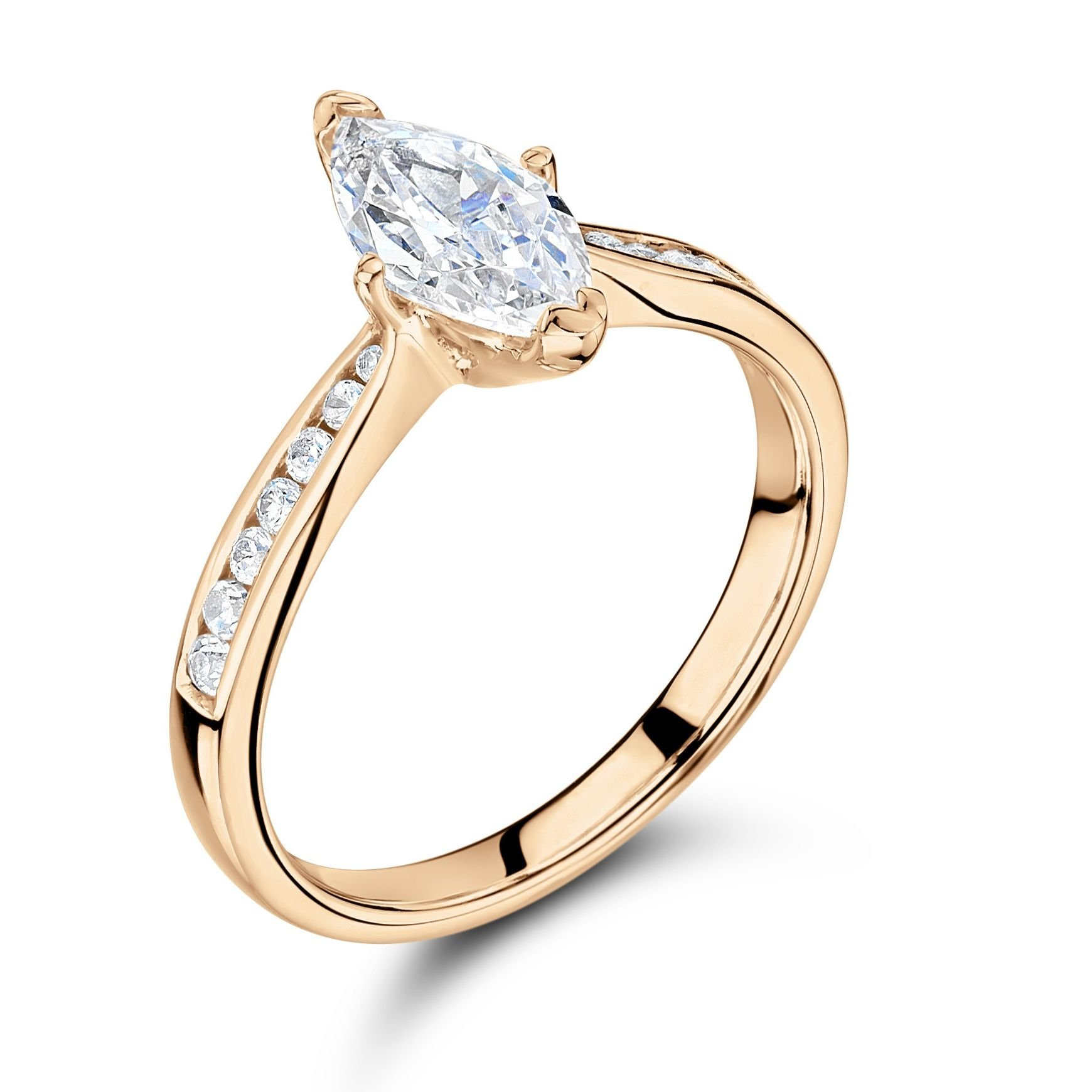 Marquise Side Stone On Shoulder Set Accented Diamond Engagement Ring