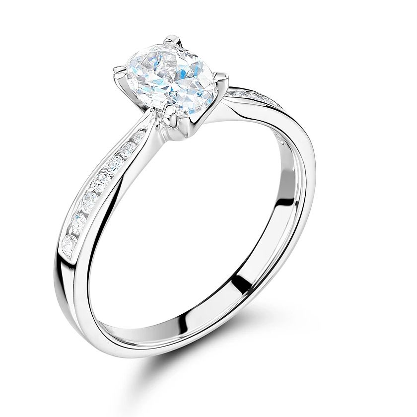 Oval Shape Side Stone On Shoulder Set Accented Diamond Engagement Ring