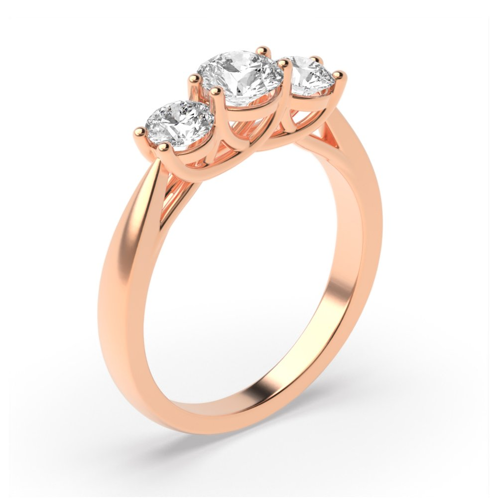 Cross Over Prongs Setting Round Diamond Trilogy Engagement Rings