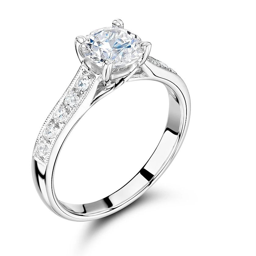 Side Stone On Shoulder Set Accent Diamond Engagement Ring White Gold / Platinum