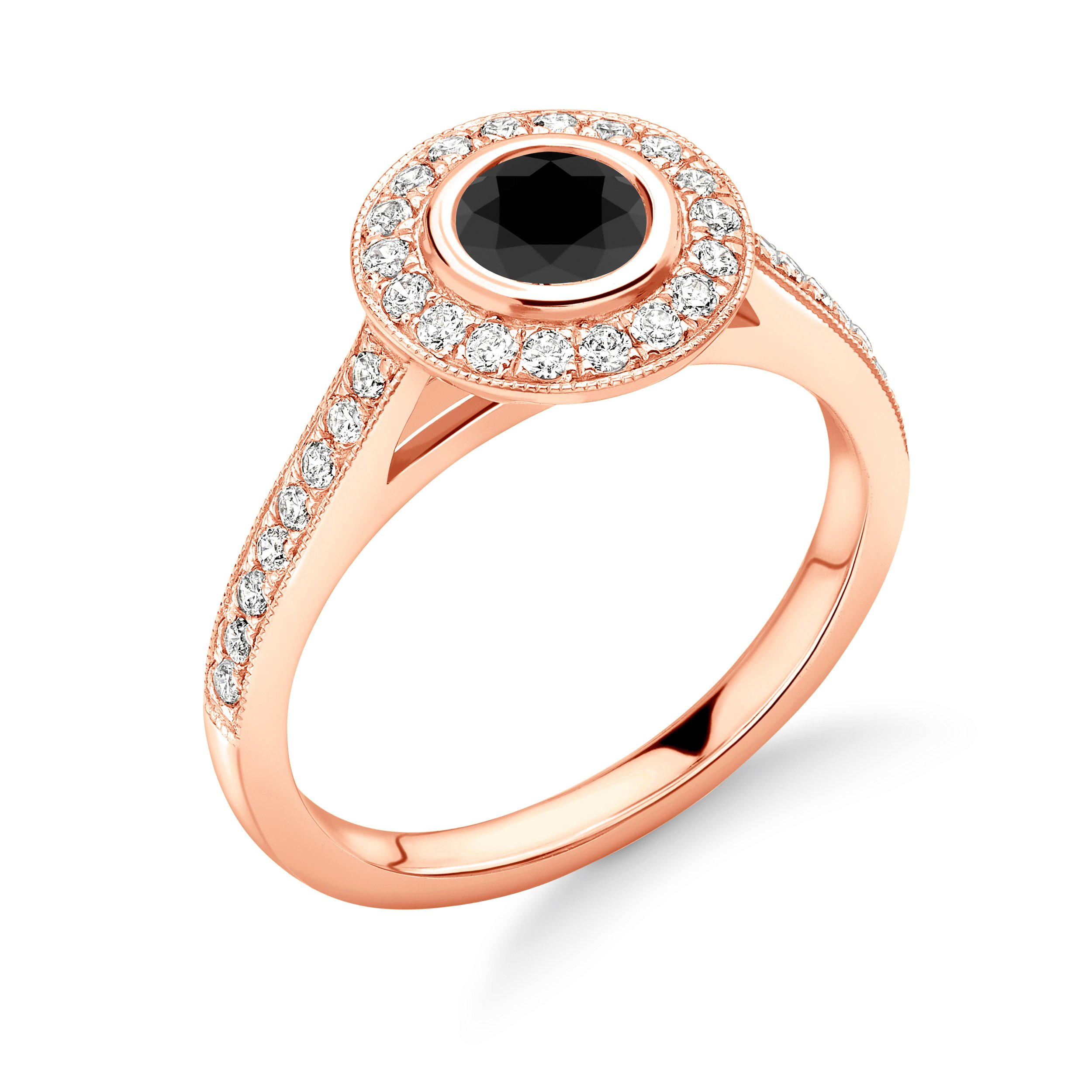 Bezel Setting With Miligrain Edge Halo Engagement Ring With Black Diamond
