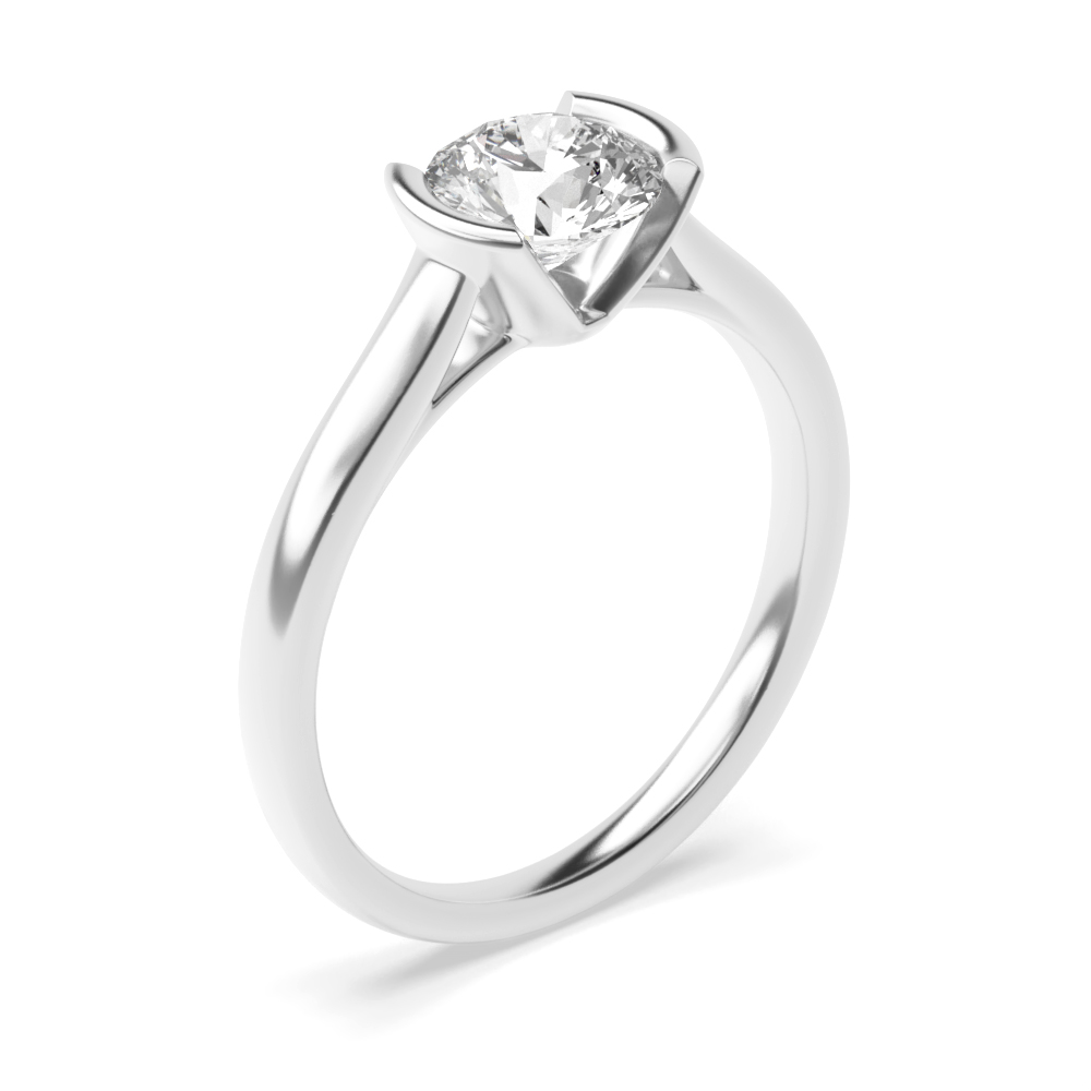 Tension Set Engagement Ring UK Round Solitaire Diamond Ring Platinum