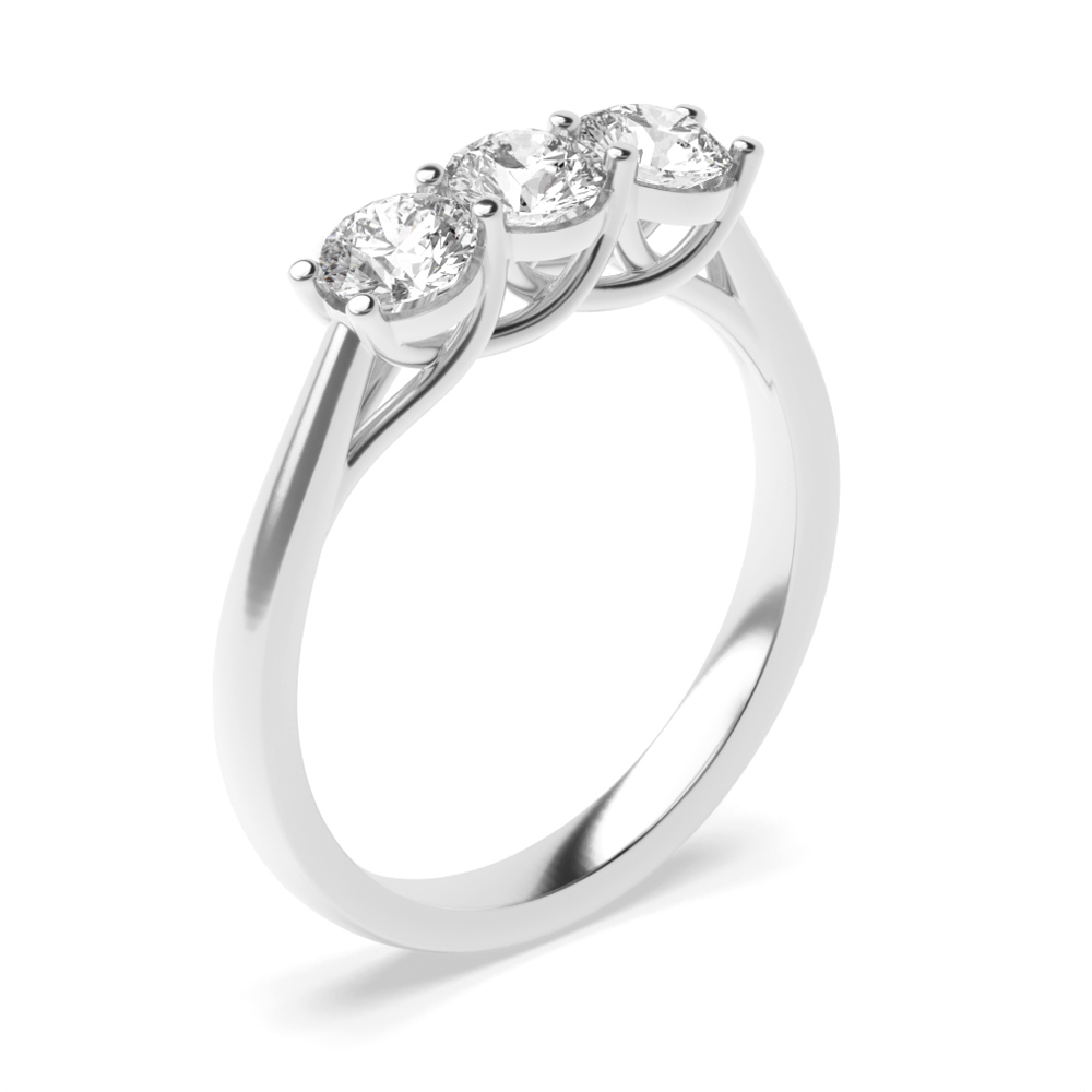 Cross Over Claws Three Equal Diamonds Trilogy Engagement Rings