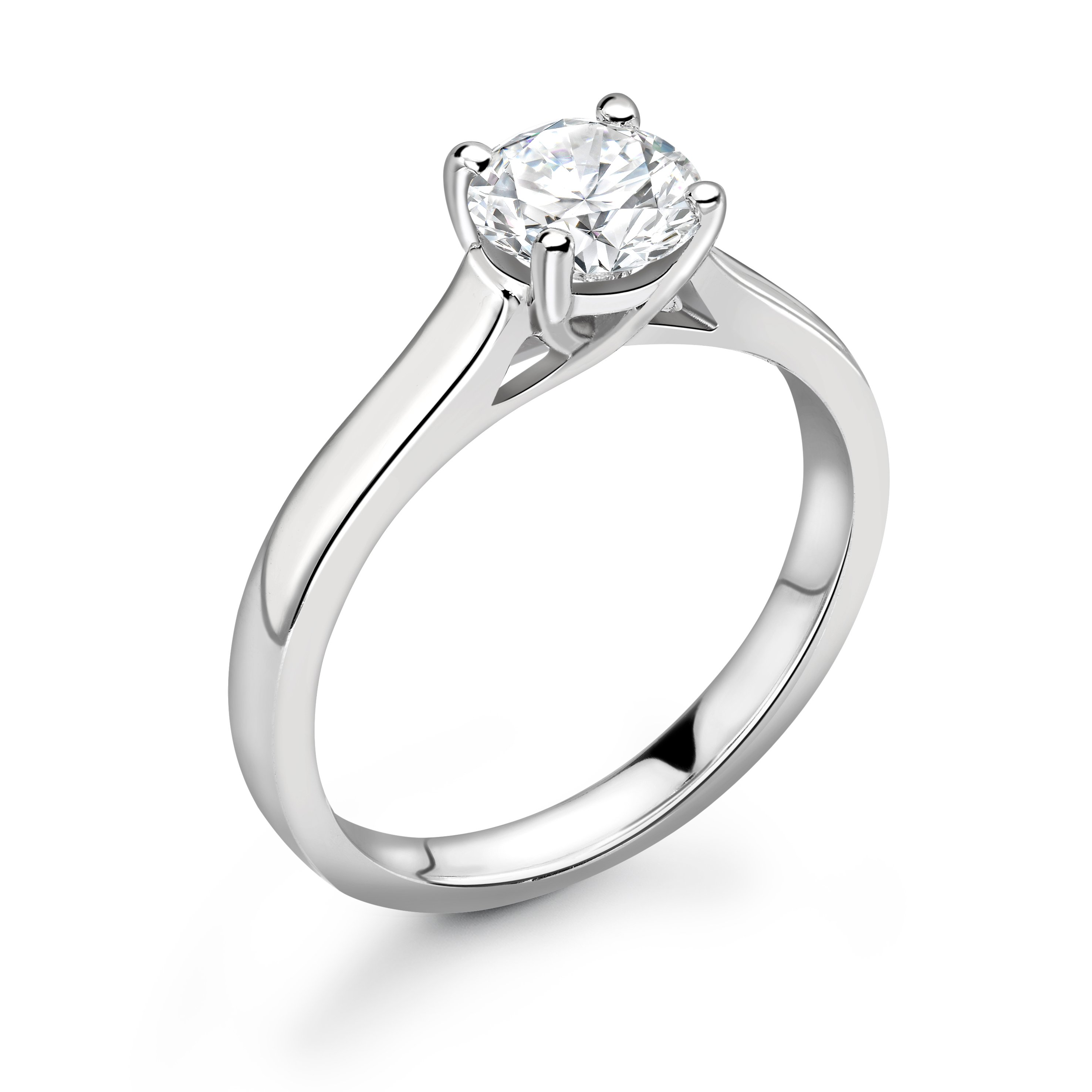 Cross Over Claws Single Solitaire Moissanite Engagement Ring