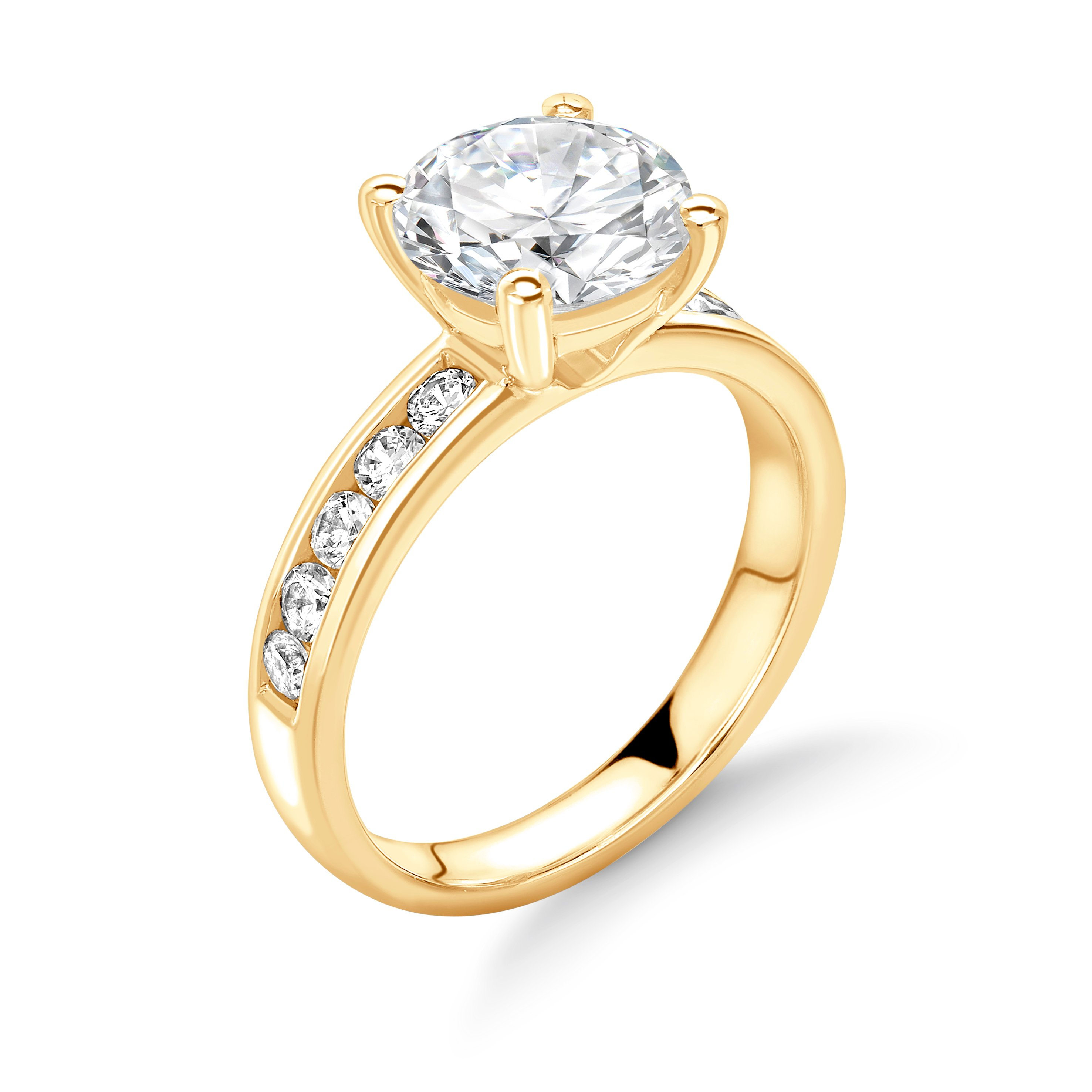 Classic Channel Setting Diamonds Side Stone Diamond Engagement Rings