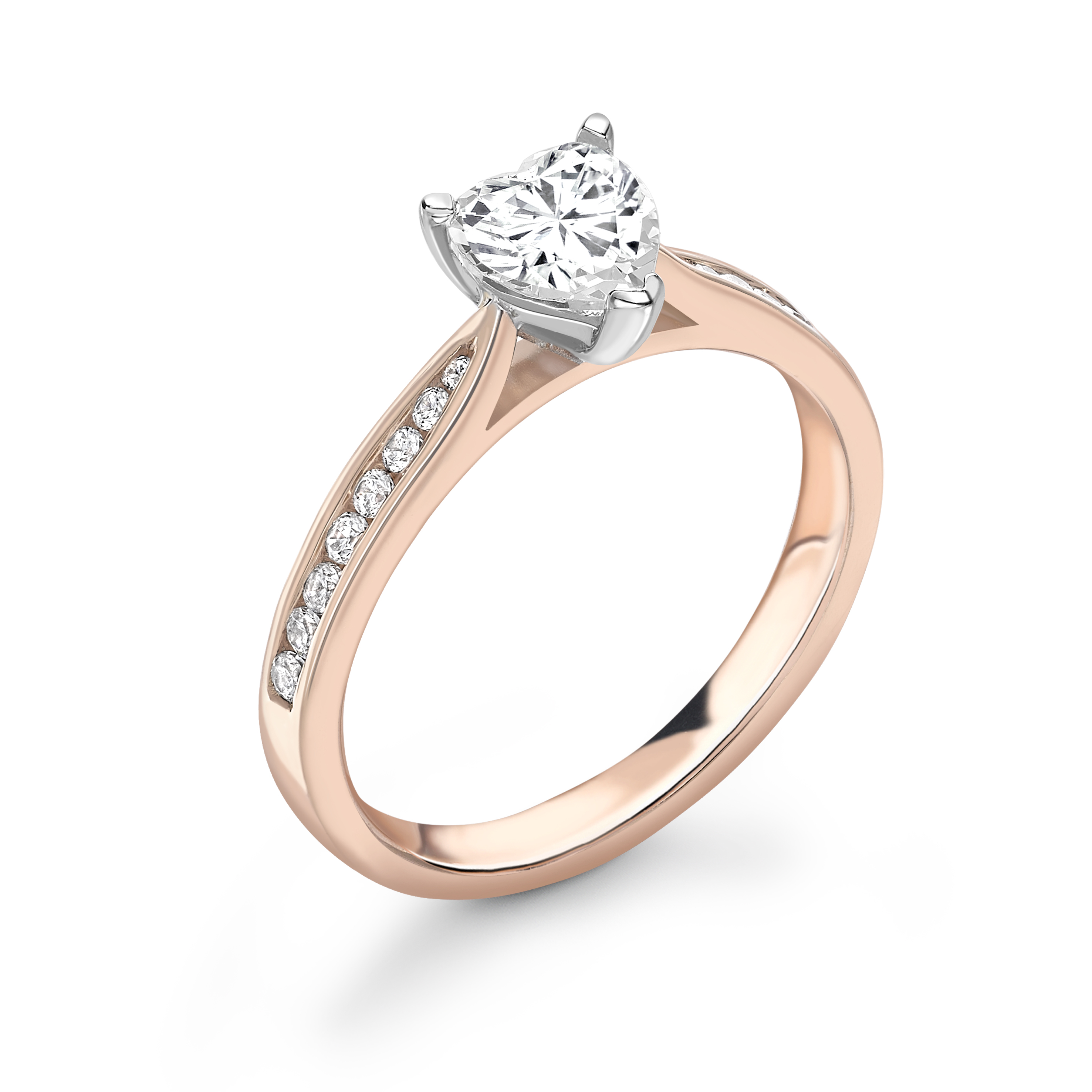 Heart Diamond Tapering Shoulder with Diamond Engagement Rings