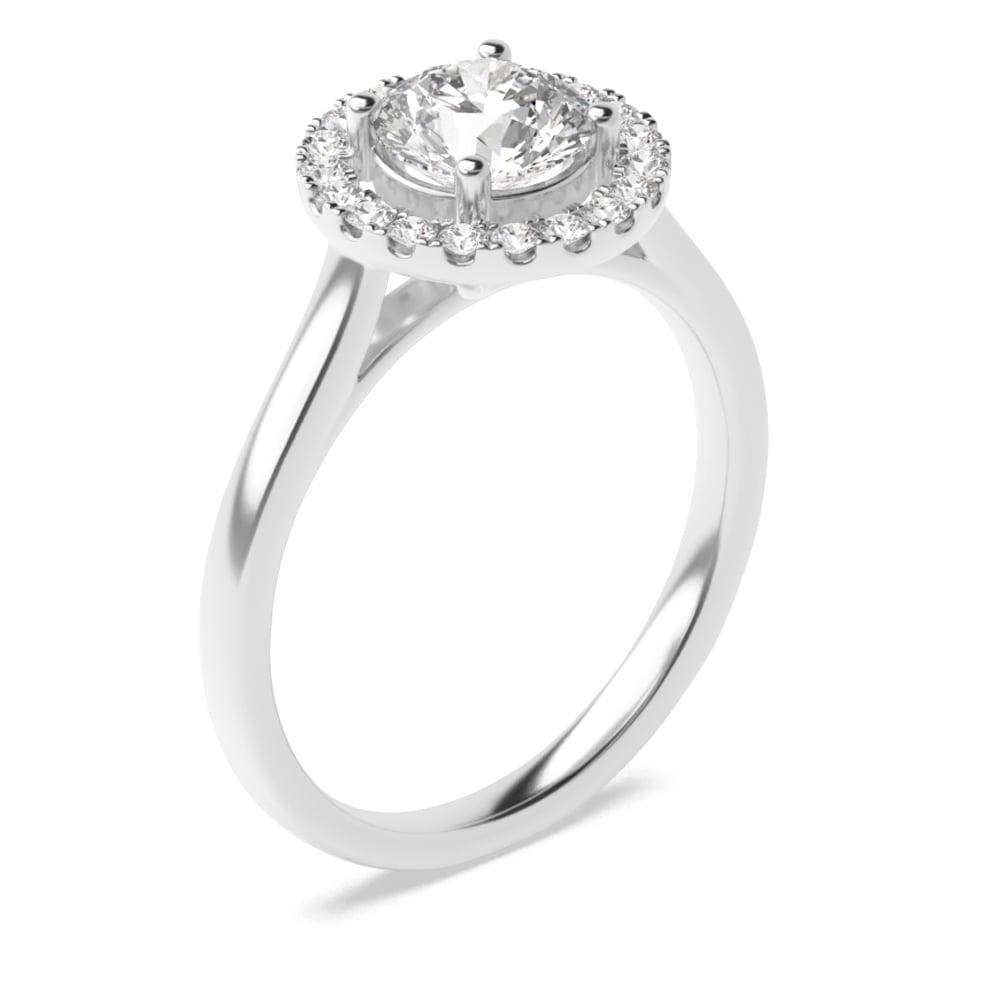 4 Prong Setting Round Shape Popular Halo Diamond Engagement Rings