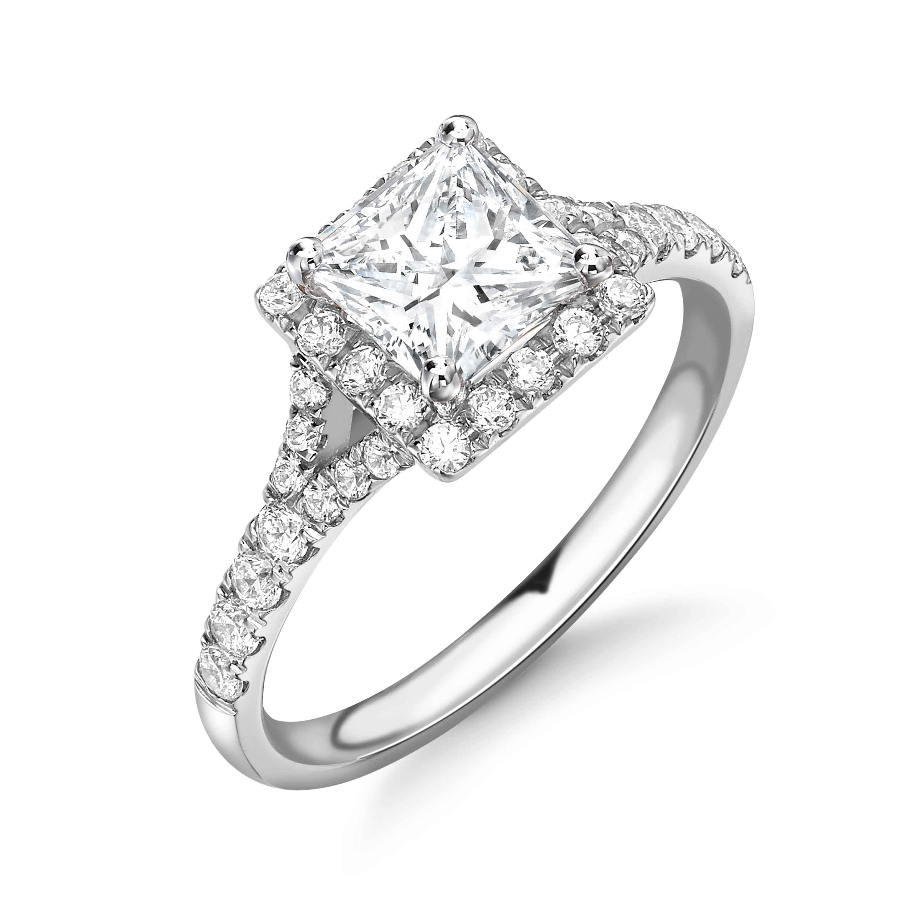 4 Prong Setting Princess Shape Split Shoulder Halo Diamond Engagement Rings