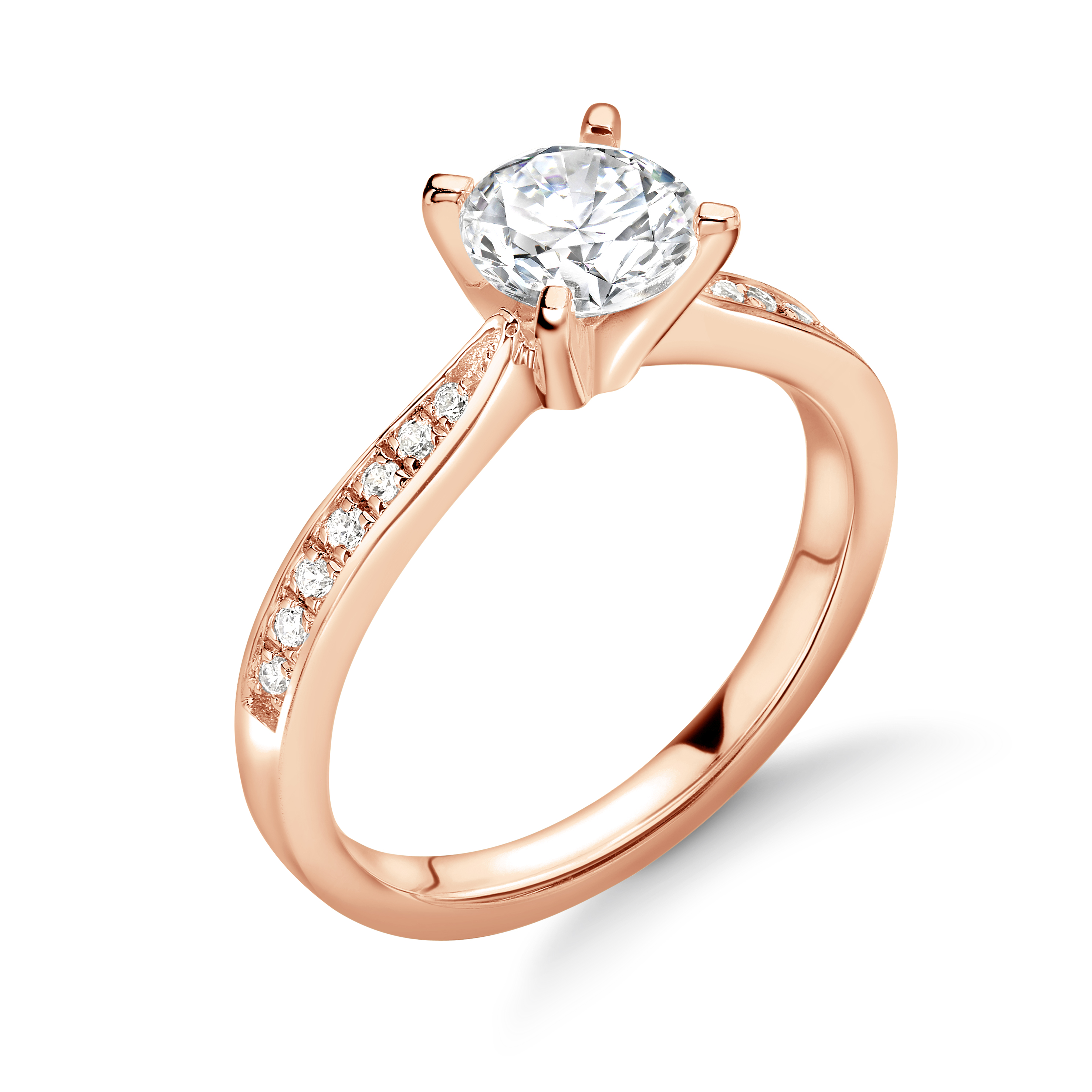 Delicate Tappering Down Pave Set Side Stone Diamond Engagement Rings