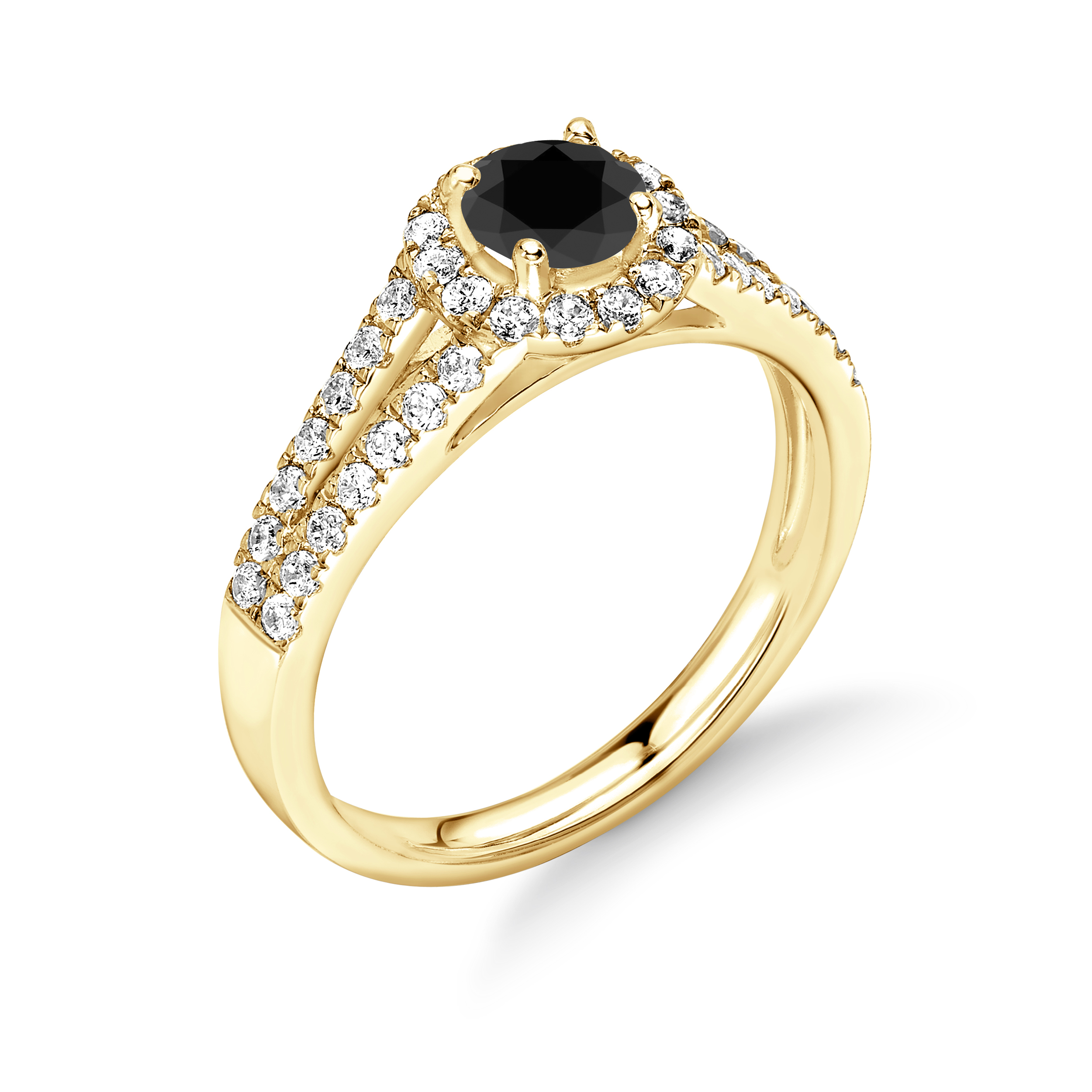 2 Raw Shoulder Claw Set Halo Black Diamond Engagement Rings