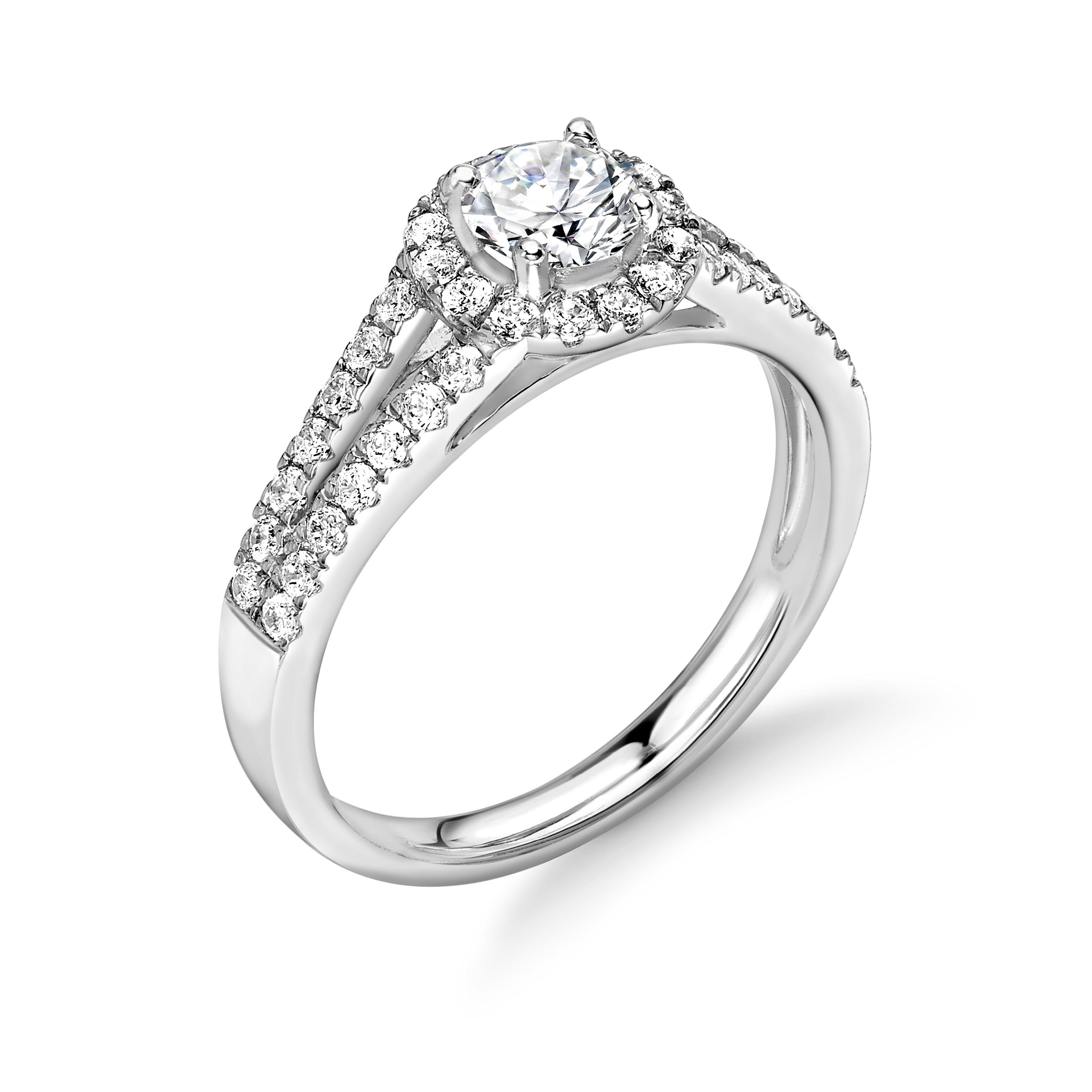 4 Prong Setting Round Shape 2 Raw Shoulder Pave Set Halo Diamond Engagement Rings