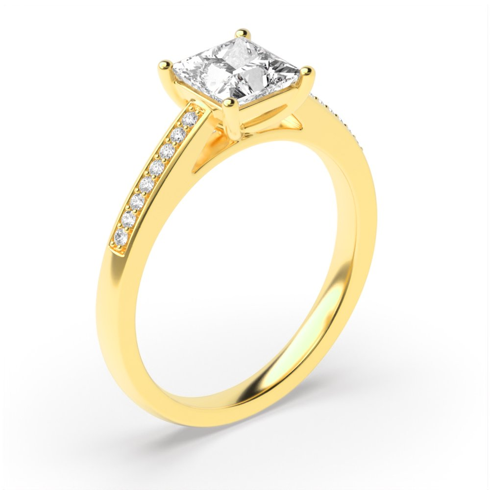 Princess Cut Shoulder Set Diamond Engagement Ring in Gold and platinum