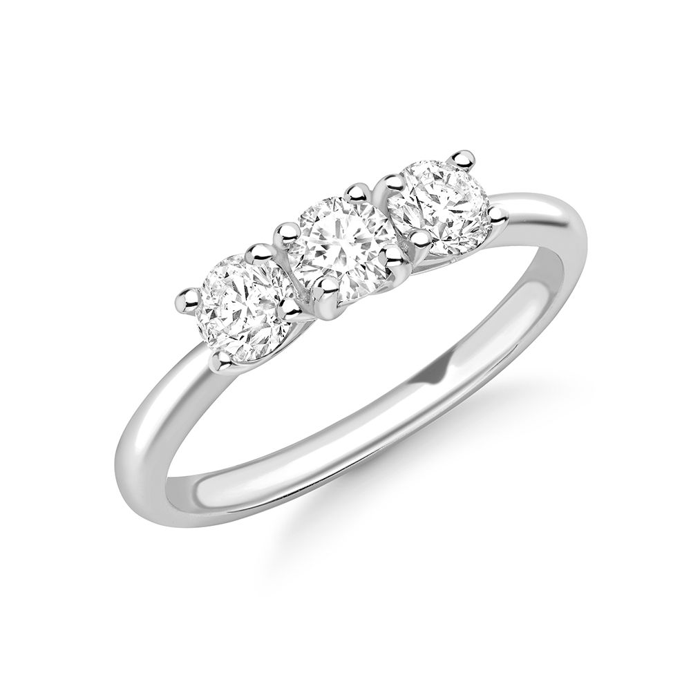 Delicate Round Brilliant Diamond Trilogy Engagement Rings