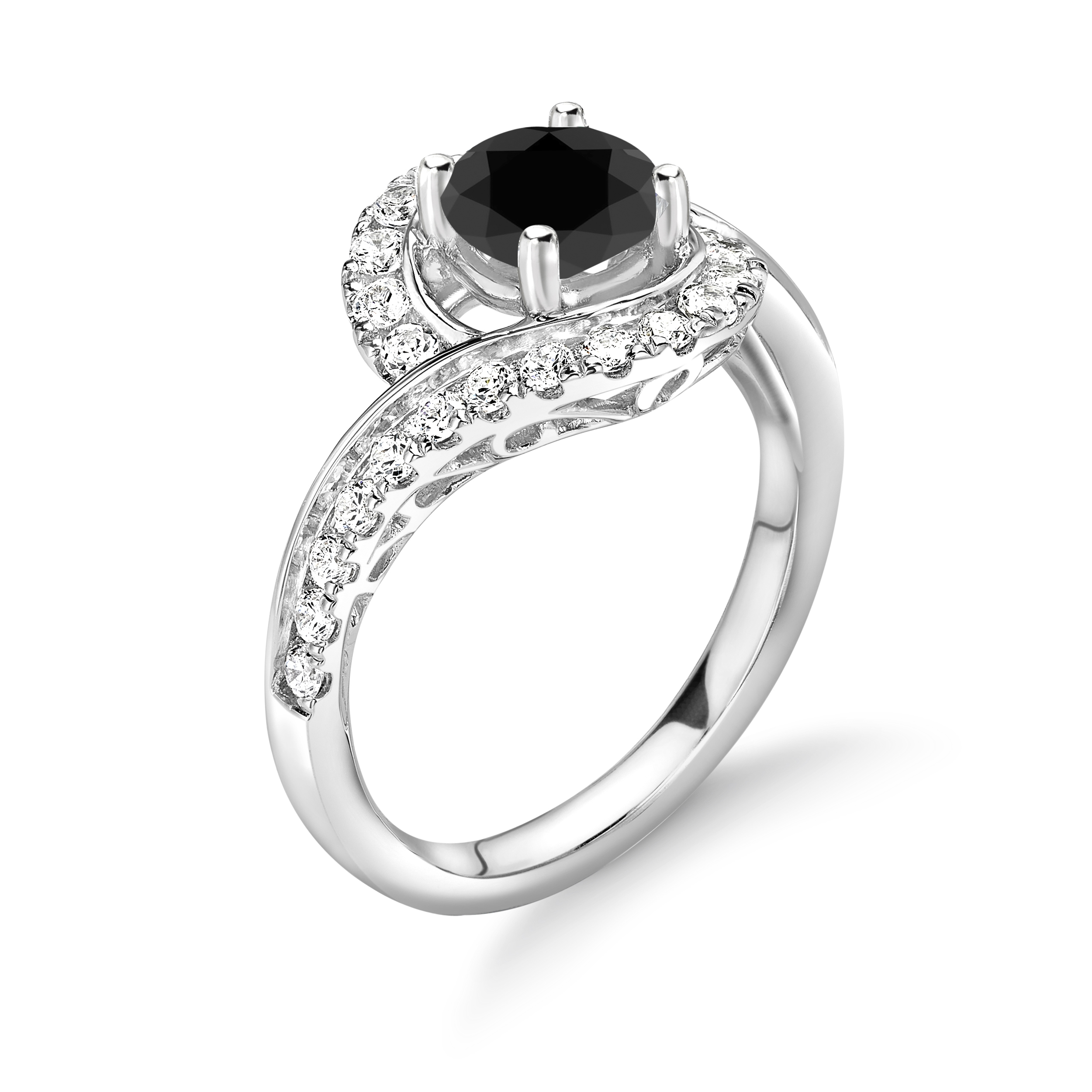 Cross Over Unique Style Centre Black and Side White Diamond Engagement Rings