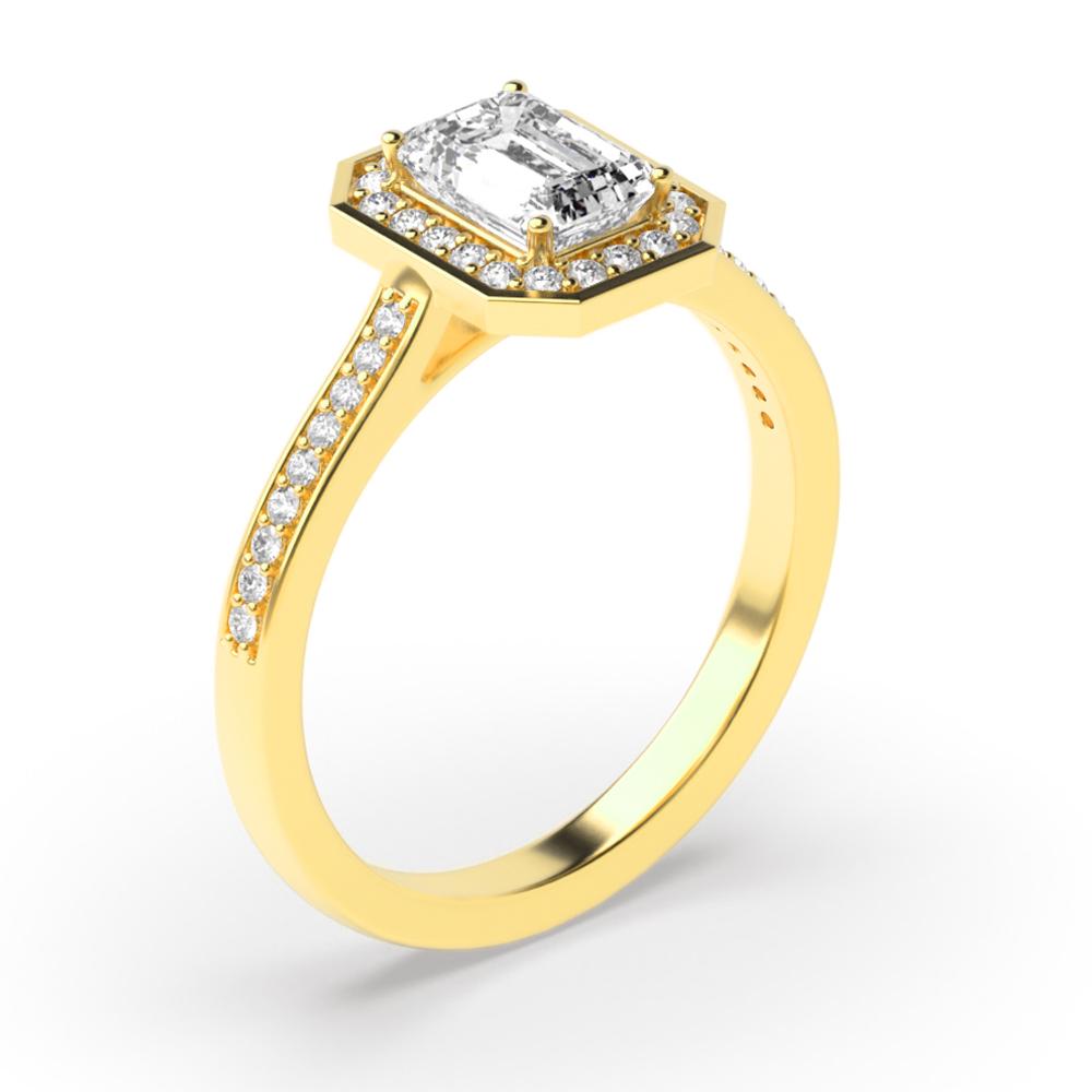 4 Prong Setting Radiant Shape Delicate Halo Diamond Engagement Rings