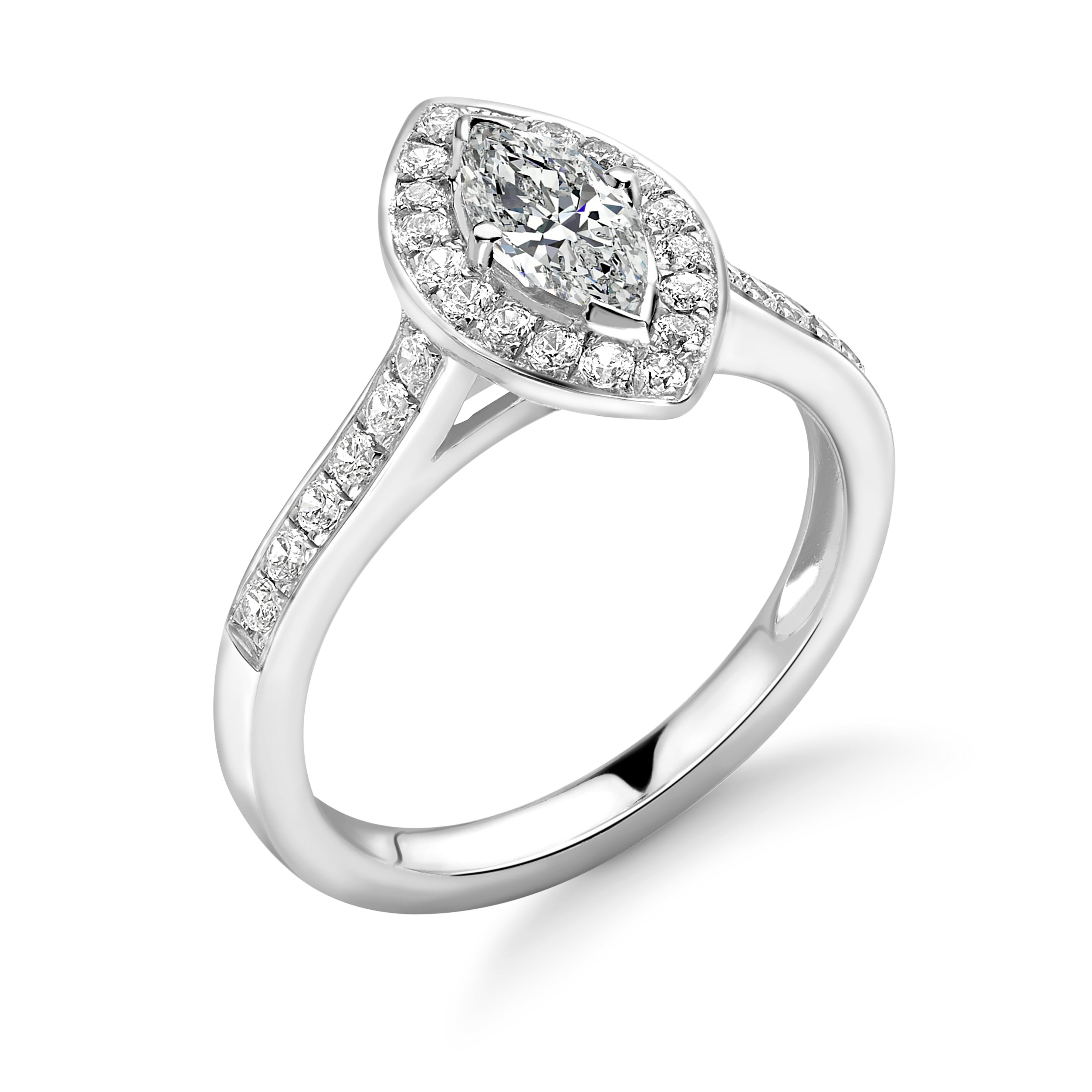 4 Prong Setting Marquise Shape Pave Halo Diamond Engagement Rings